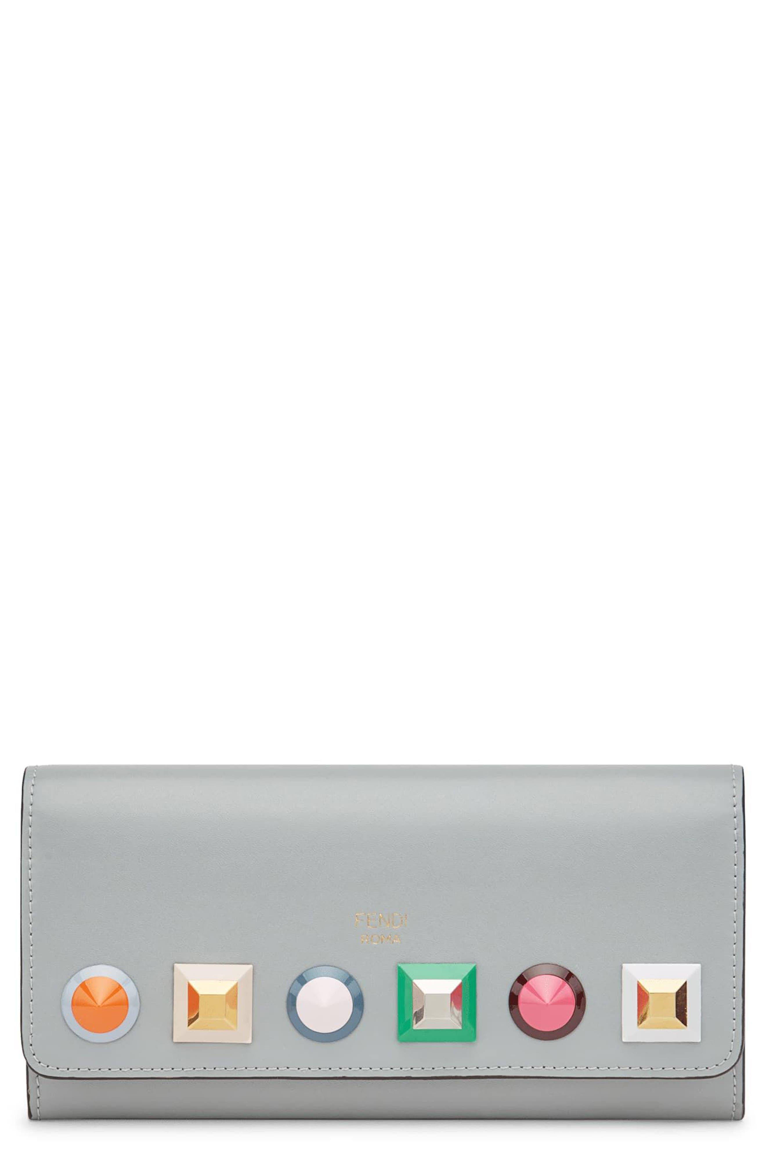 Main Image - Fendi Rainbow Stud Calfskin Leather Wallet on a Chain