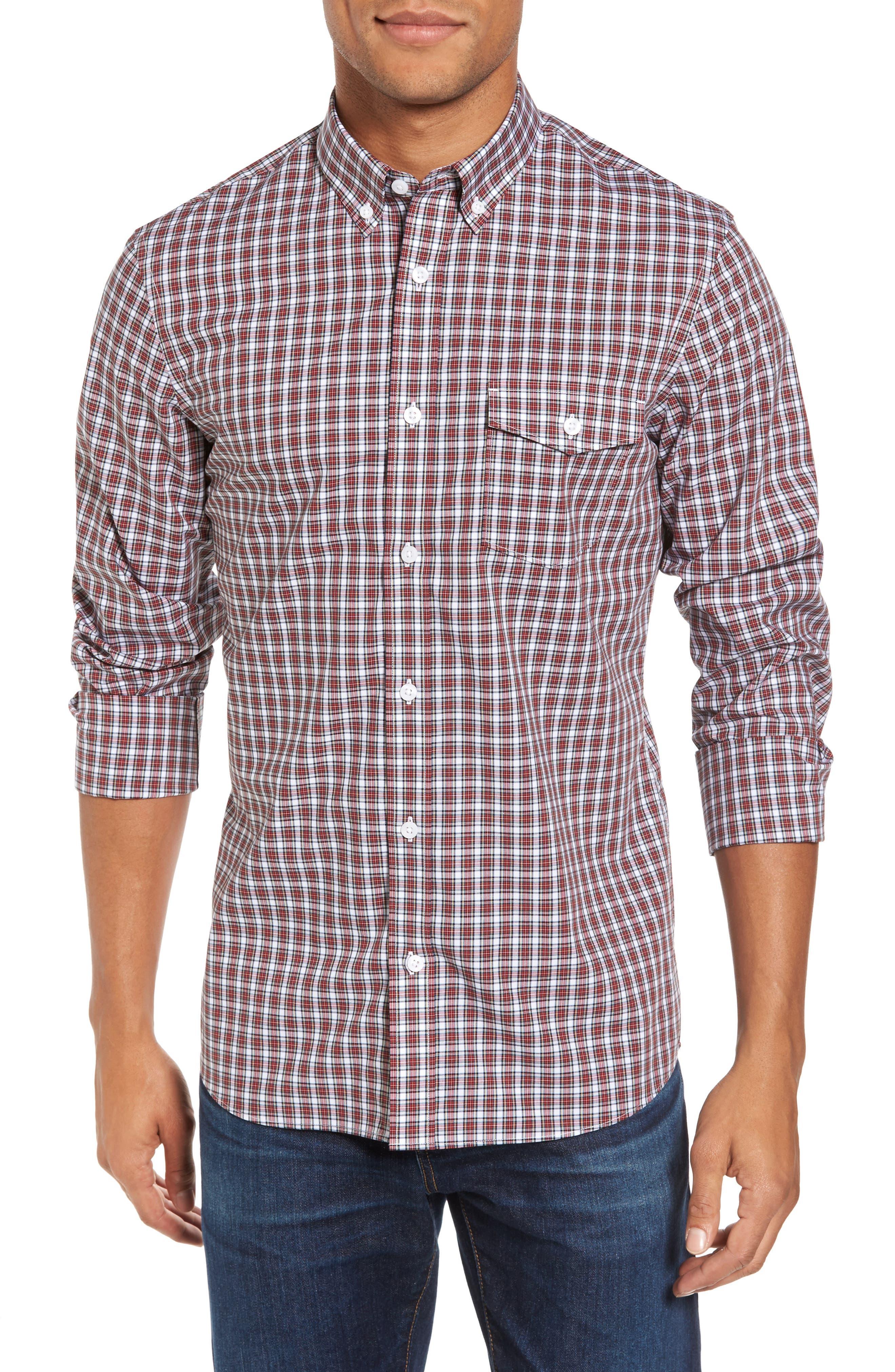 Ivy Trim Fit Non-Iron Tartan Plaid Sport Shirt,                         Main,                         color, White Red Tartan