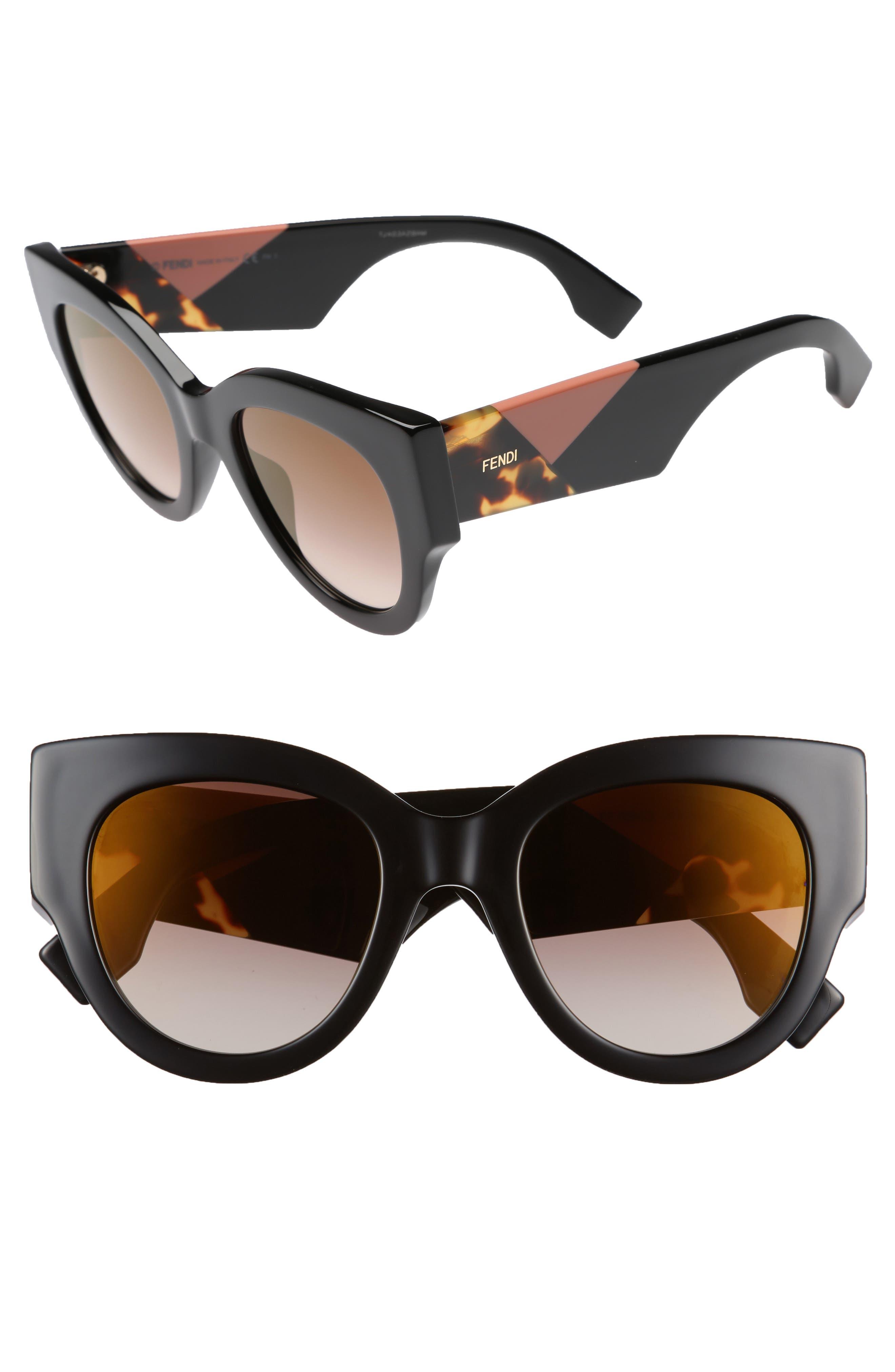51mm Cat Eye Sunglasses,                         Main,                         color, Black