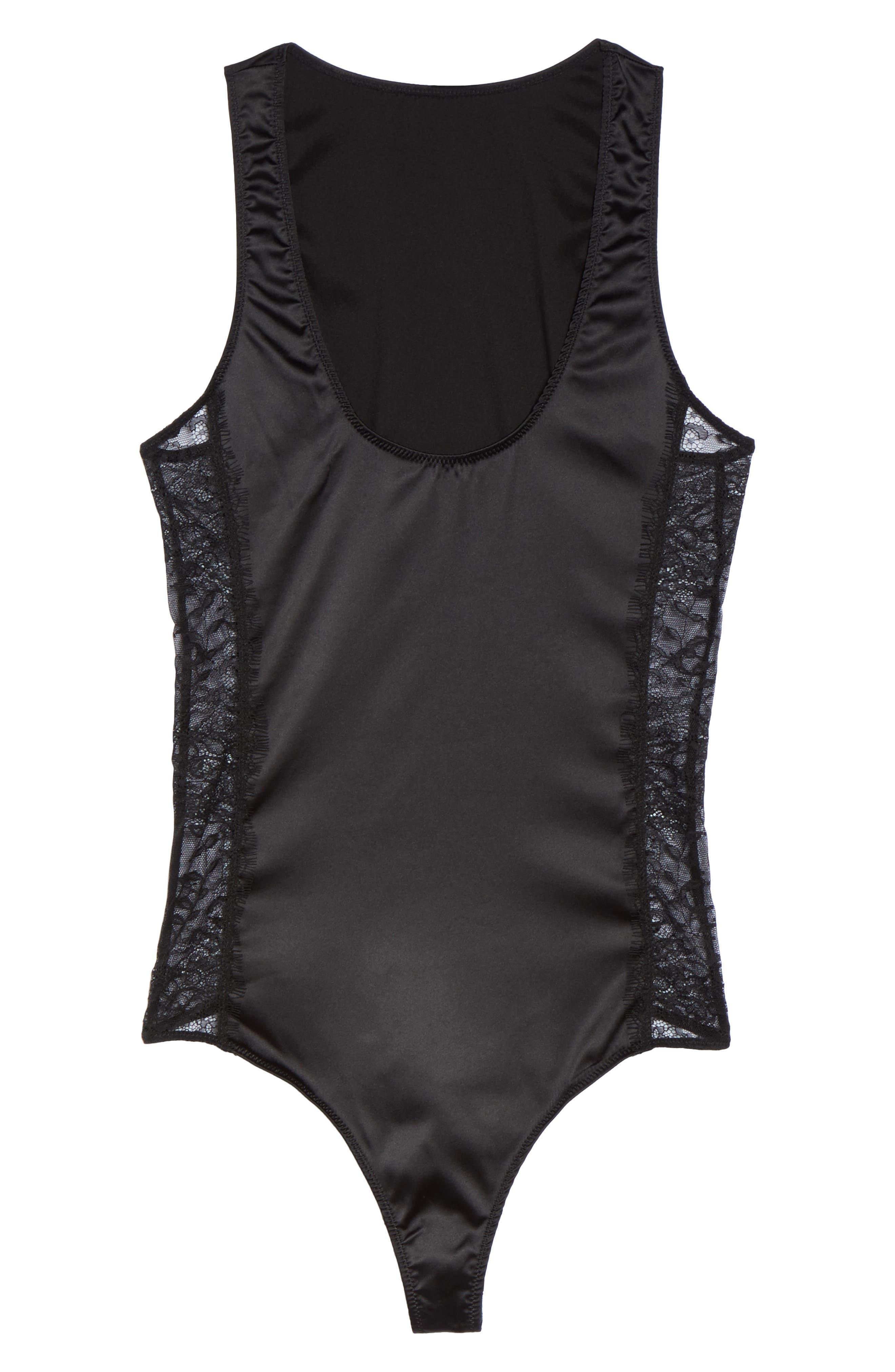 Thong Bodysuit,                             Alternate thumbnail 4, color,                             Black