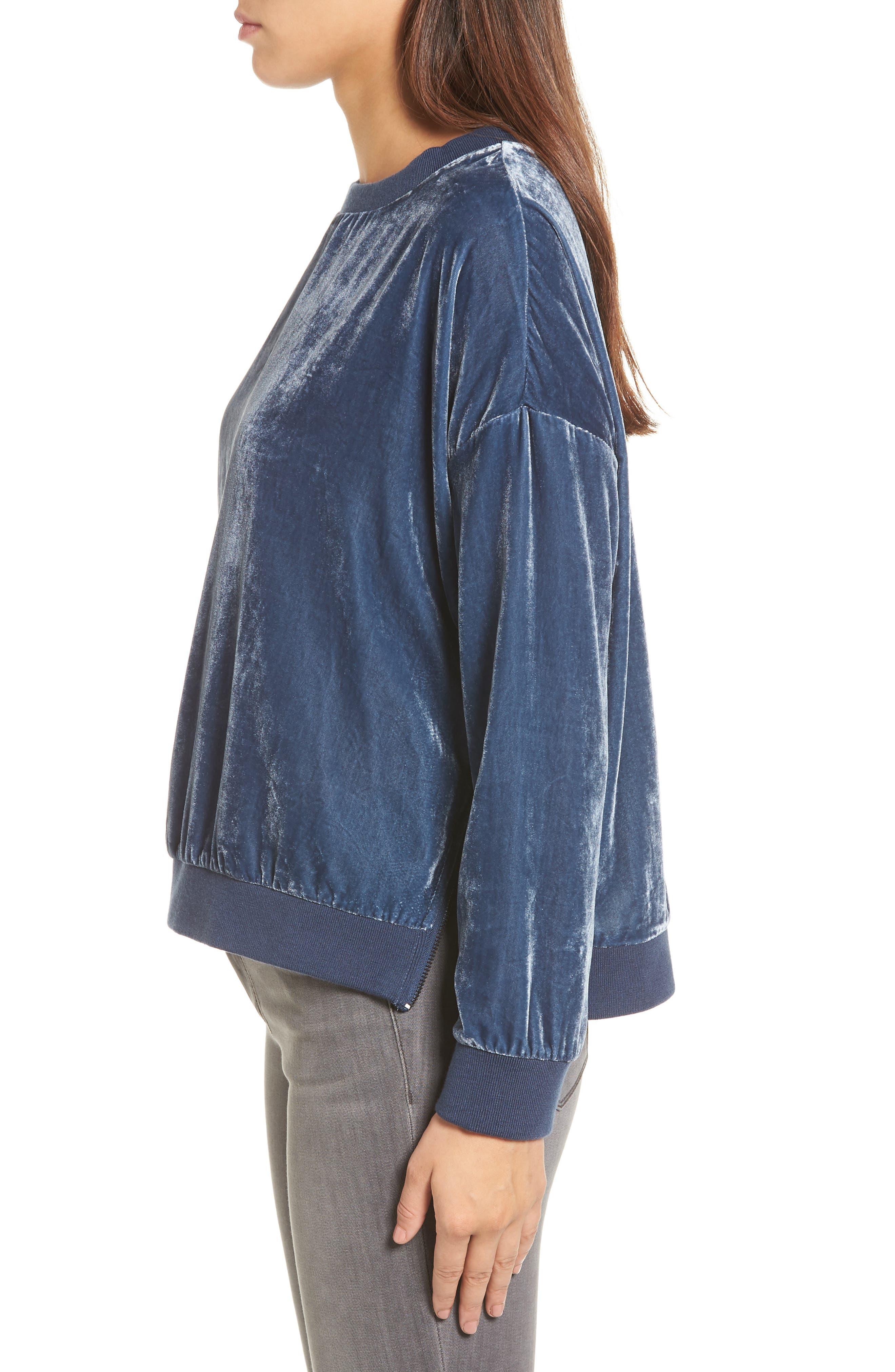 Zipper Velvet Sweatshirt,                             Alternate thumbnail 3, color,                             Splatter Blue