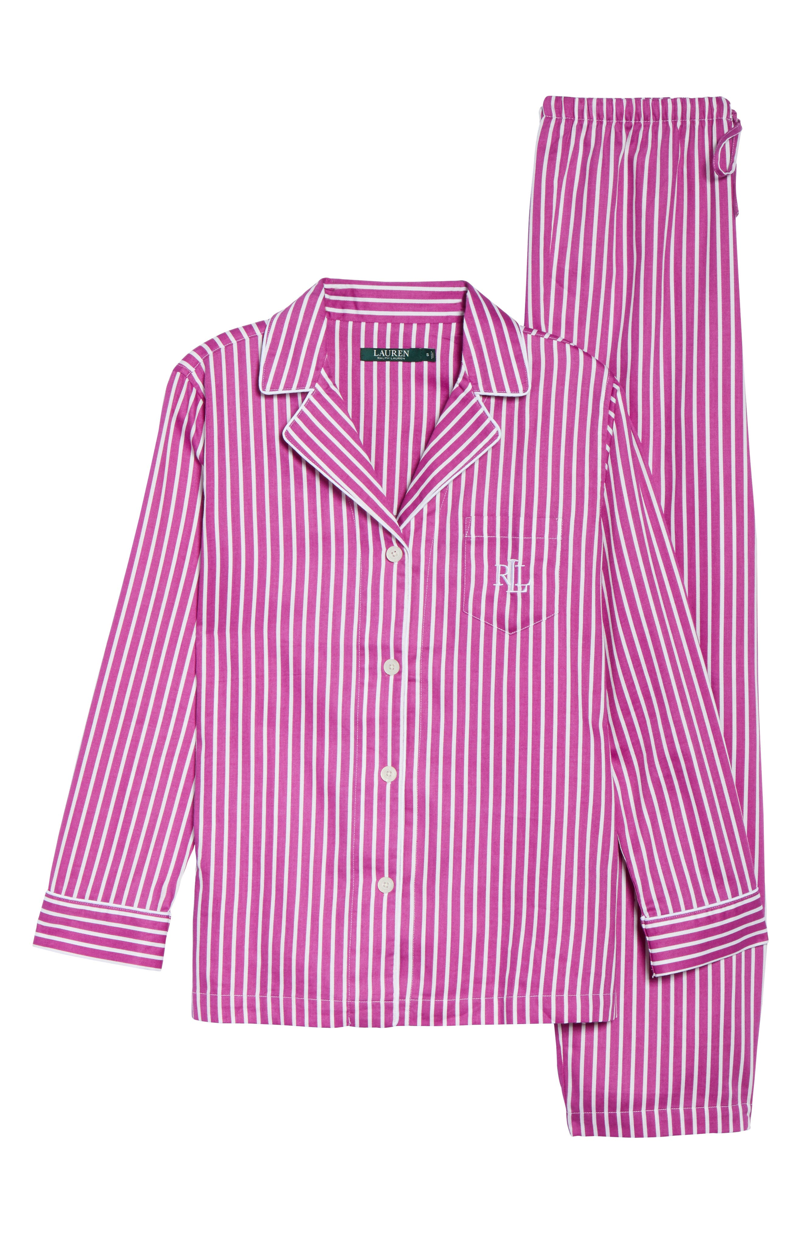 Notch Collar Pajamas,                             Alternate thumbnail 6, color,                             Pink/ White Stripe