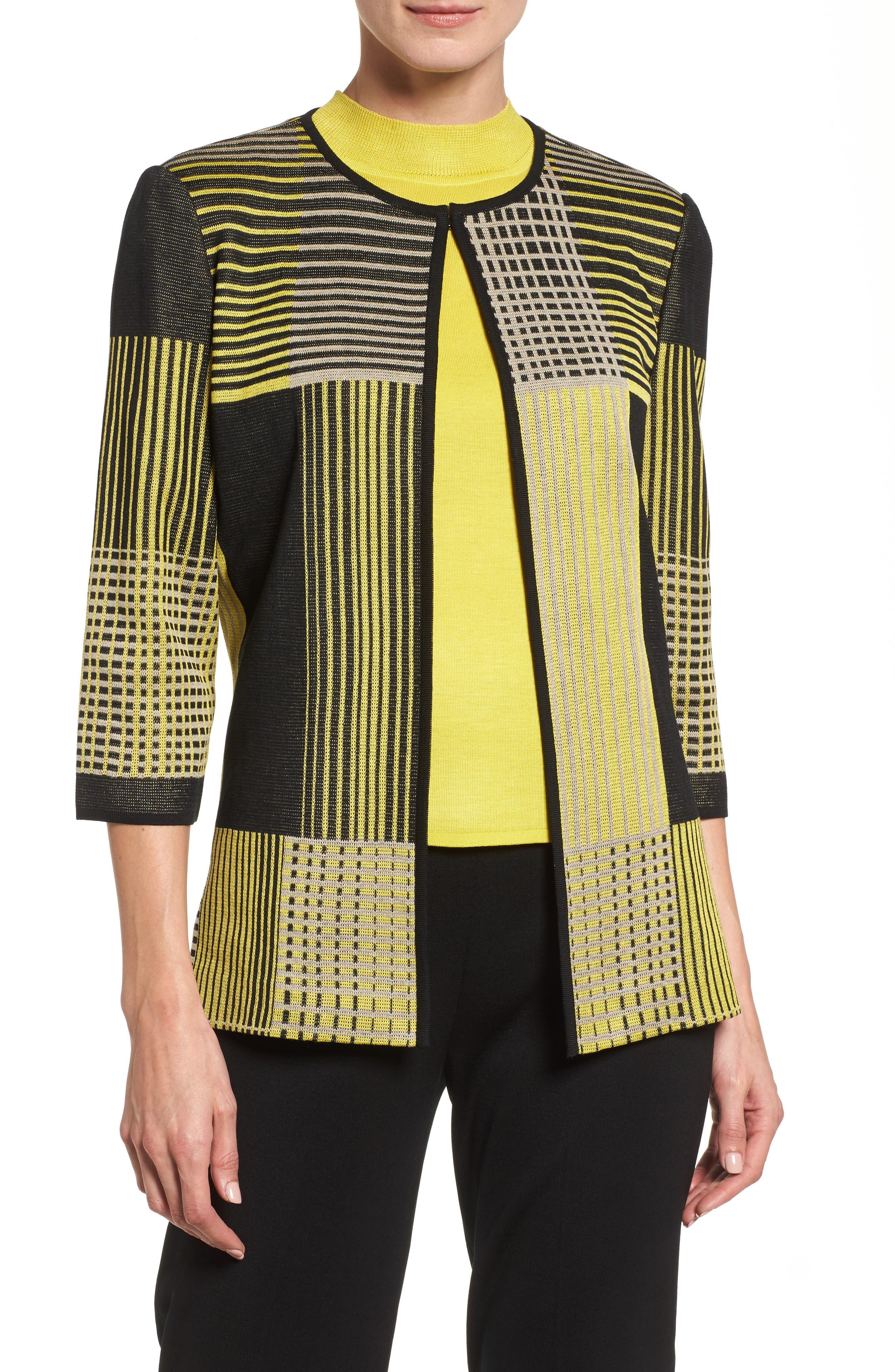 Ming Wang Patchwork Knit Jacket