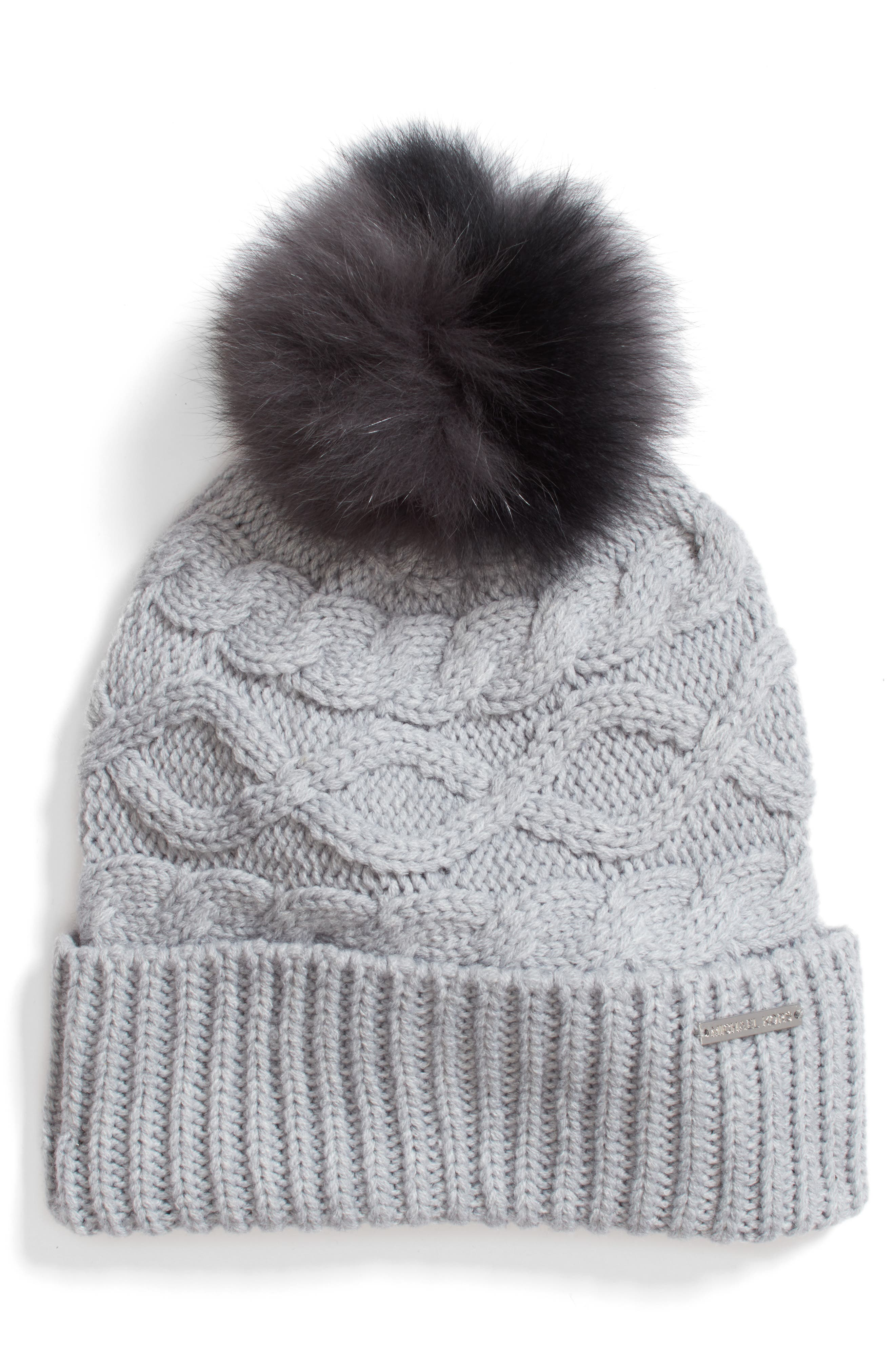 MICHAEL Michael Kors Genuine Rabbit Fur Pom Beanie
