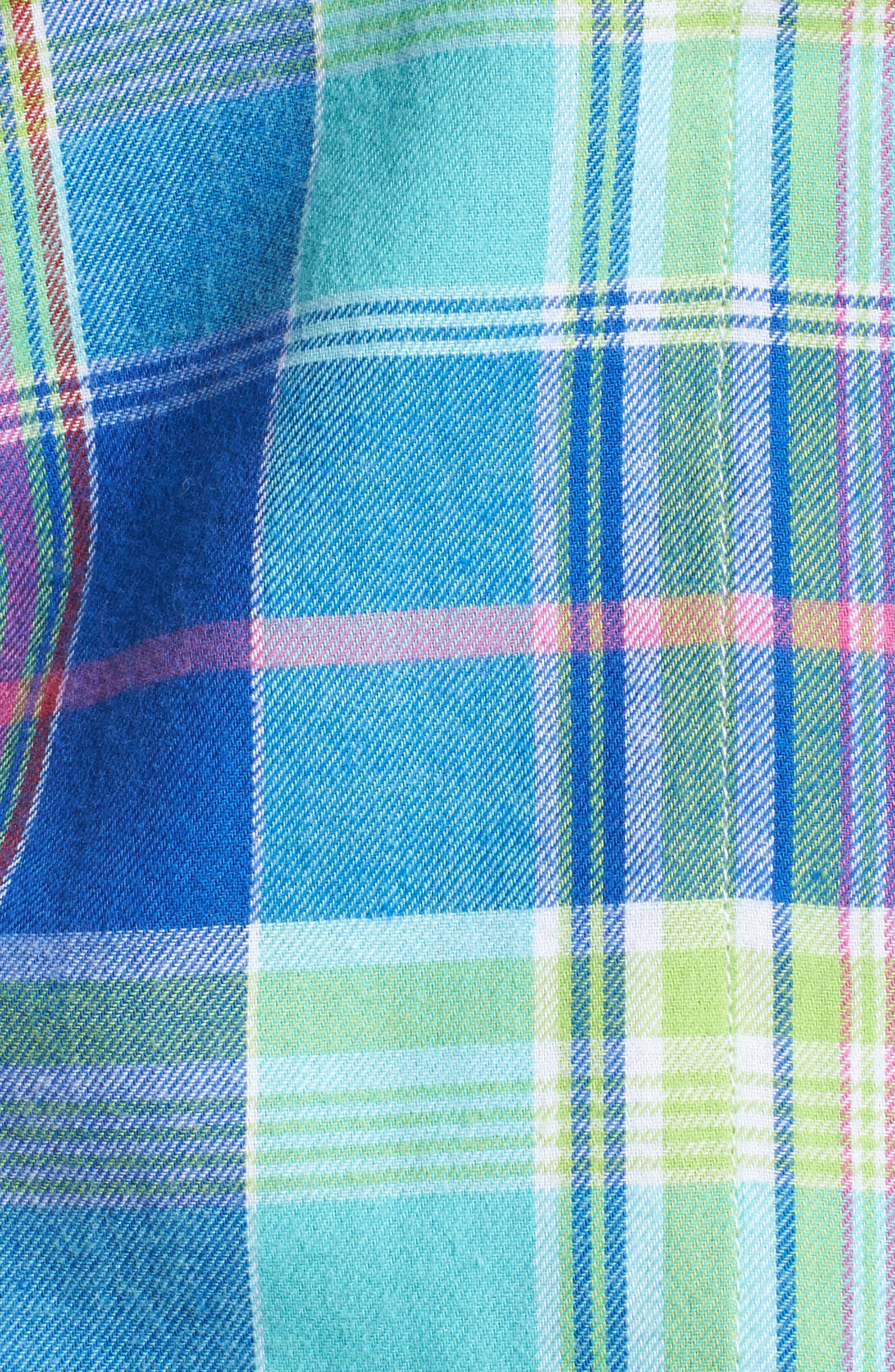 Notch Collar Pajamas,                             Alternate thumbnail 5, color,                             Turquoise Multi Plaid