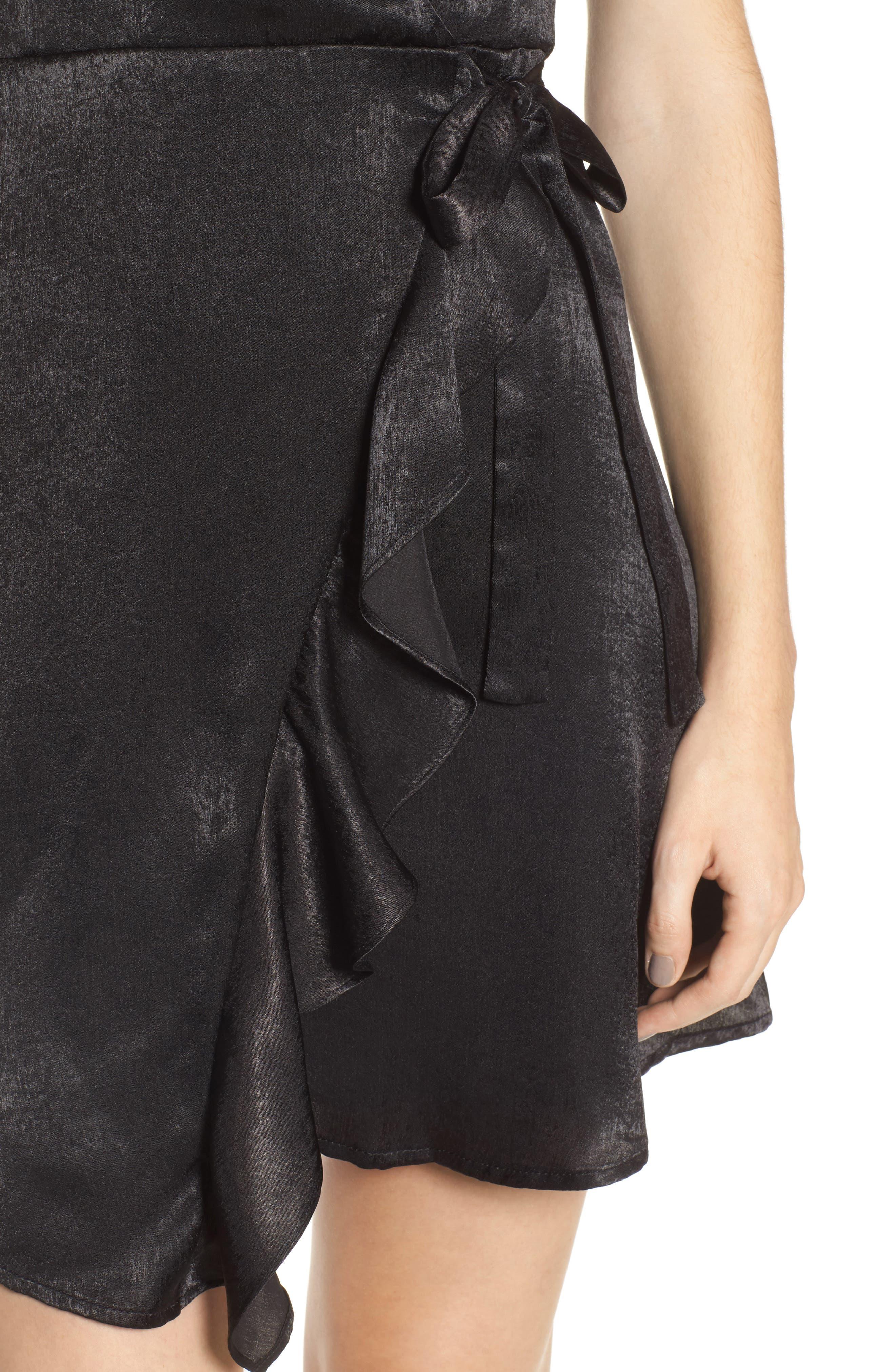 Satin Faux Wrap Dress,                             Alternate thumbnail 4, color,                             Black