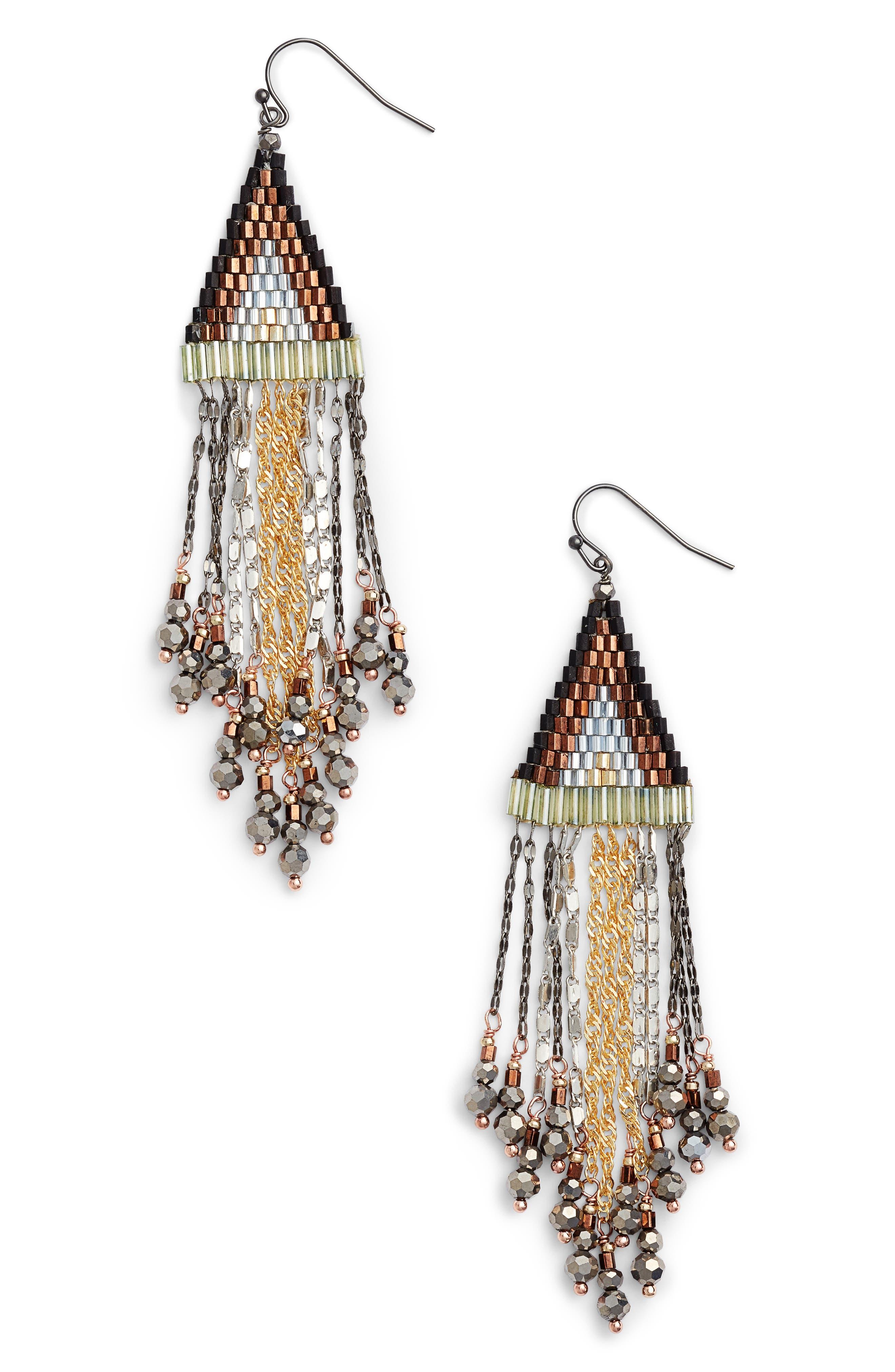 Triangle Fringe Earrings,                         Main,                         color, Silver
