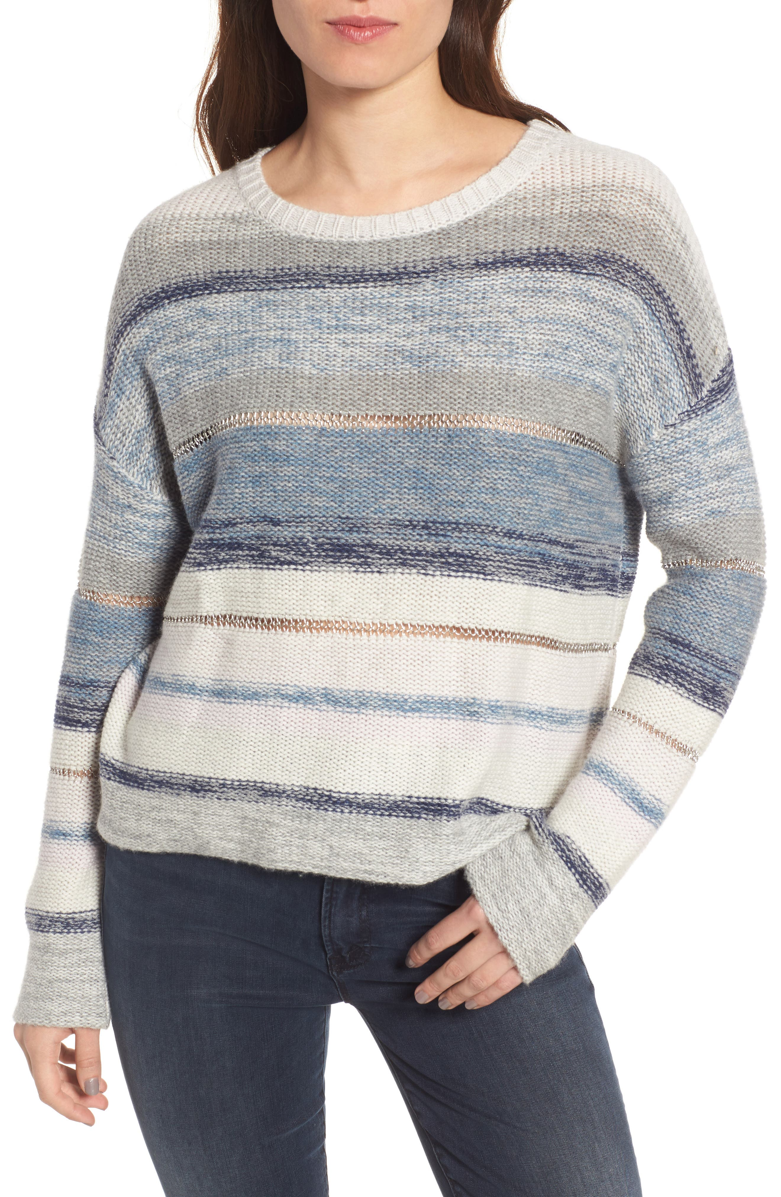 Daphne Stripe Wool & Cashmere Sweater,                             Main thumbnail 1, color,                             Swiss Alps