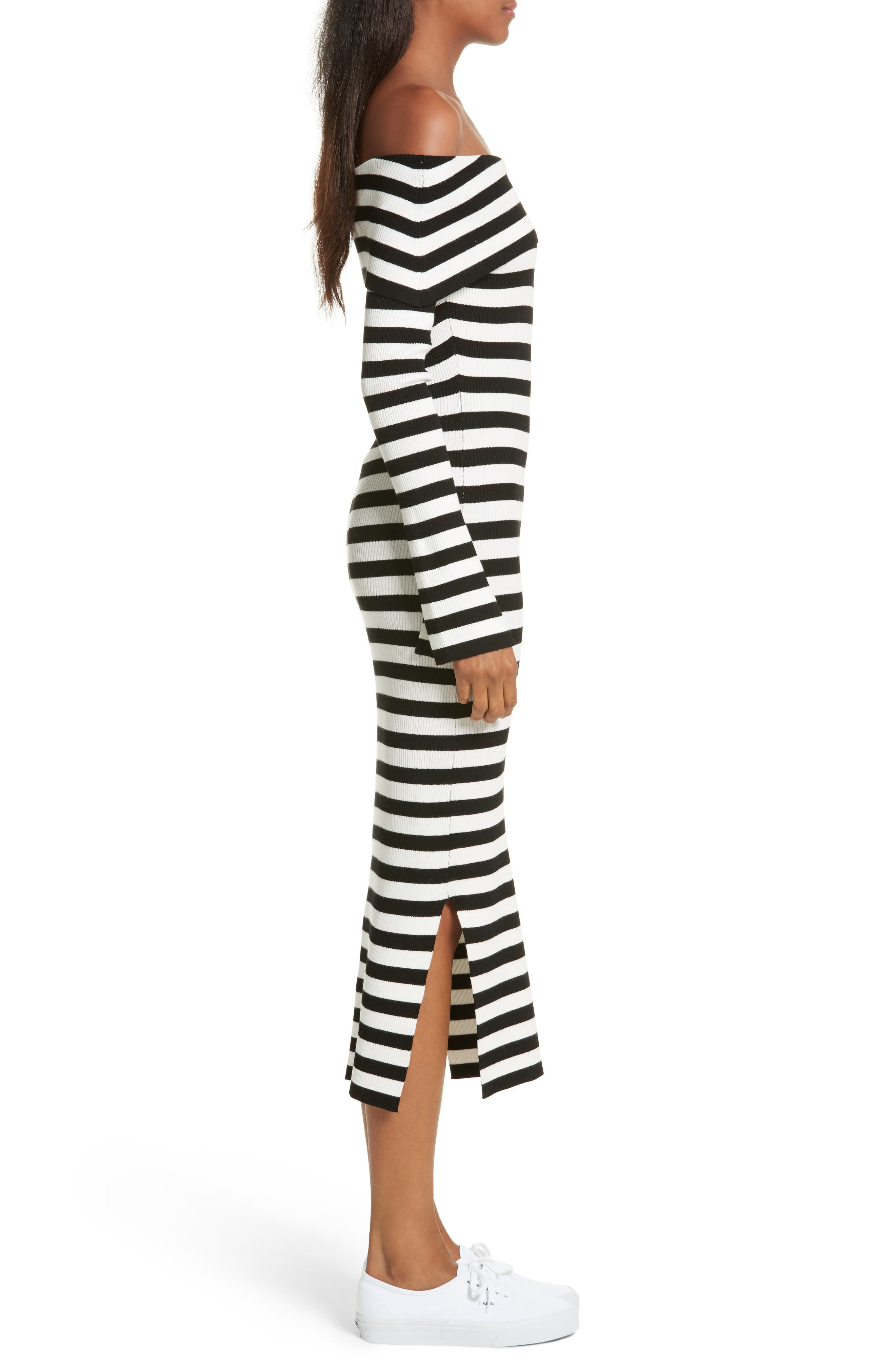 Off the Shoulder Ribbed Maxi Dress,                             Alternate thumbnail 3, color,                             Black/ White