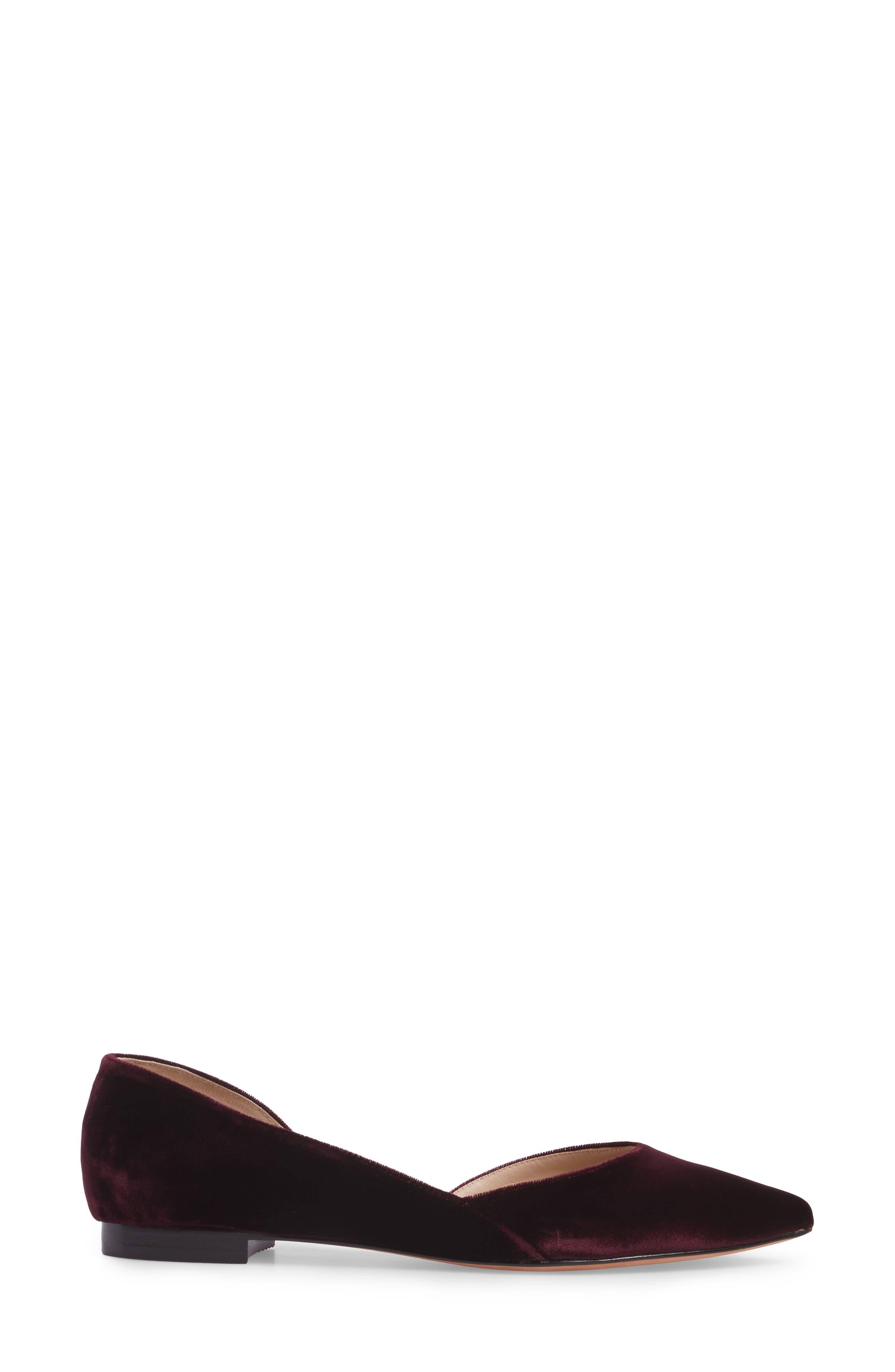 'Sunny' Half d'Orsay Flat,                             Alternate thumbnail 5, color,                             Burgundy Velvet