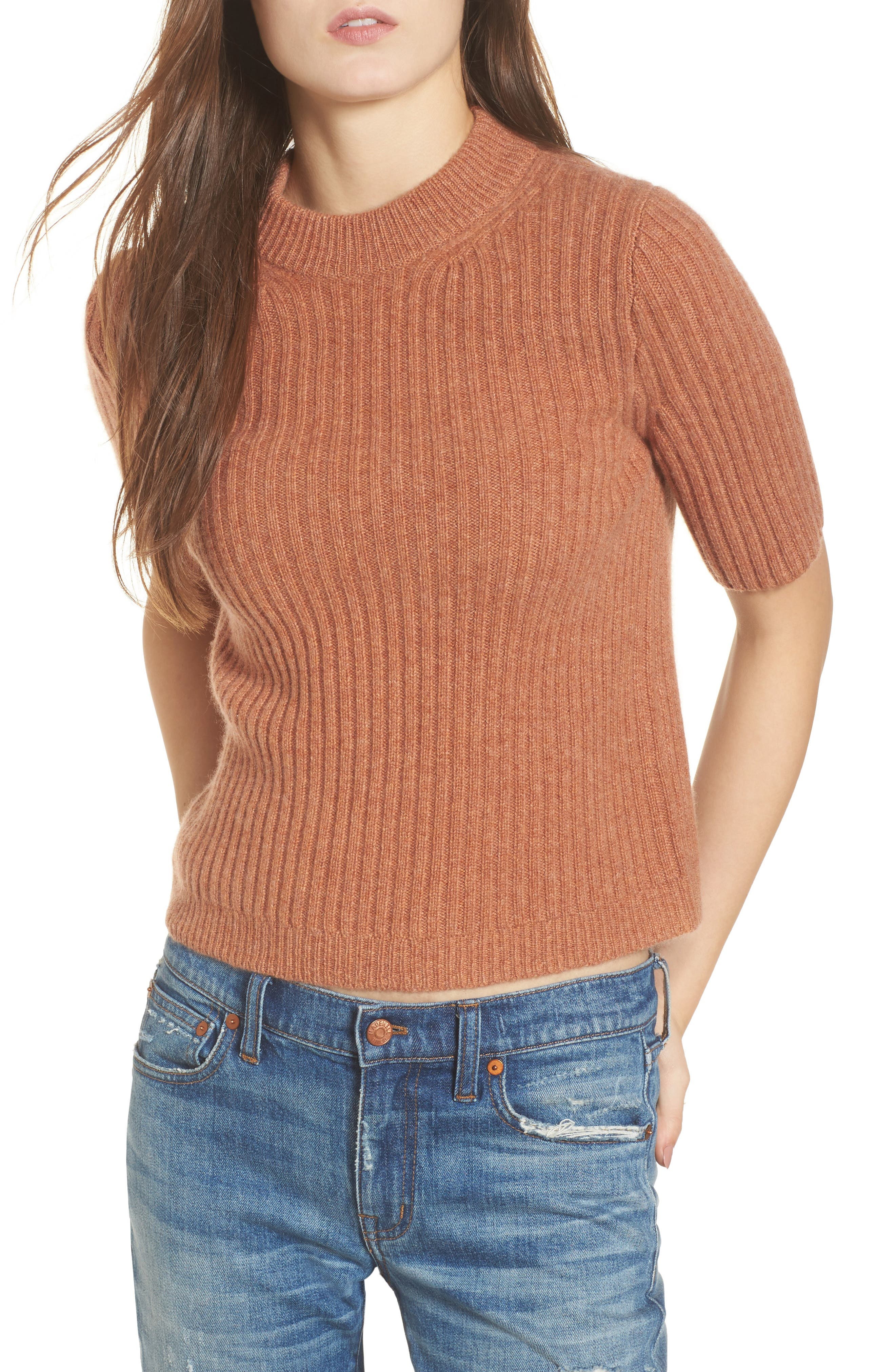 Madewell Mock Neck Cashmere Sweater Tee