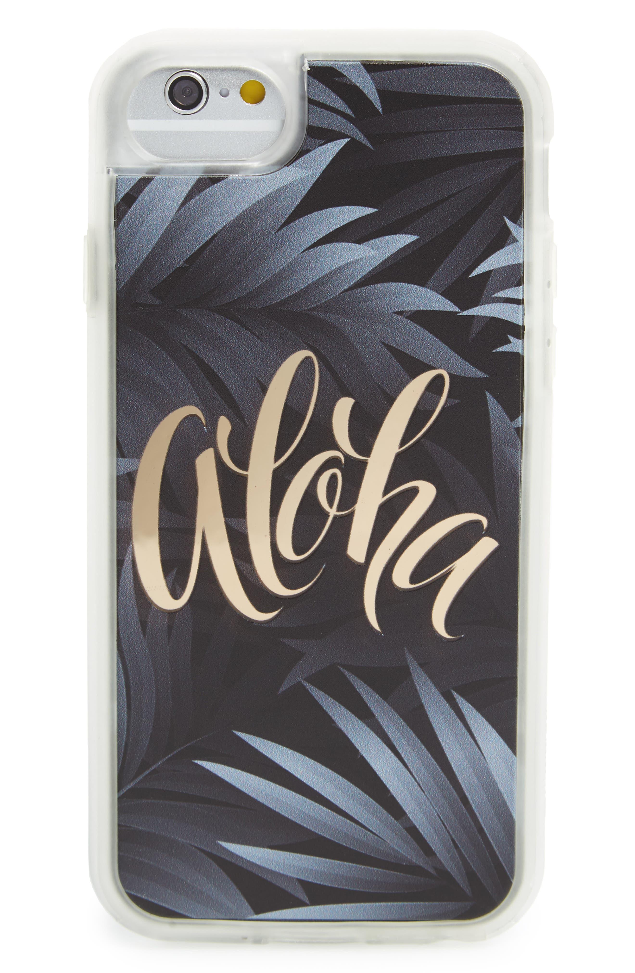 Aloha iPhone 6/6s/7 Case,                         Main,                         color, Black / Gold