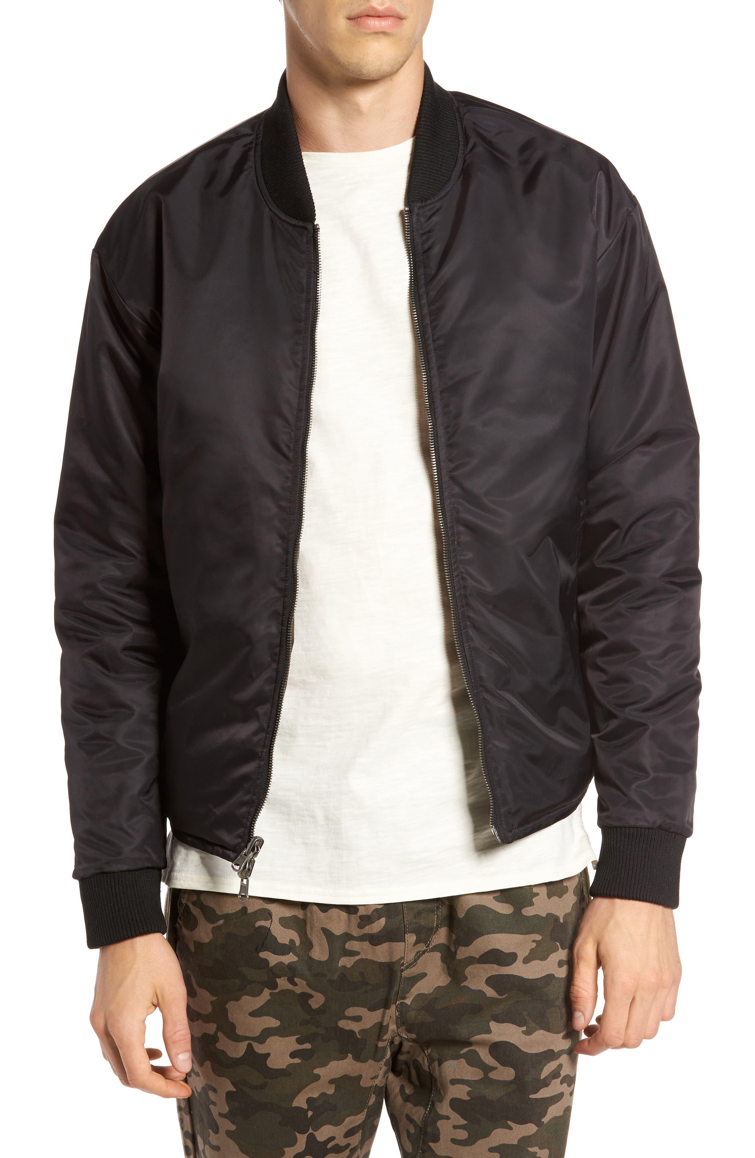 Kevion Reversible Bomber Jacket,                         Main,                         color, Black