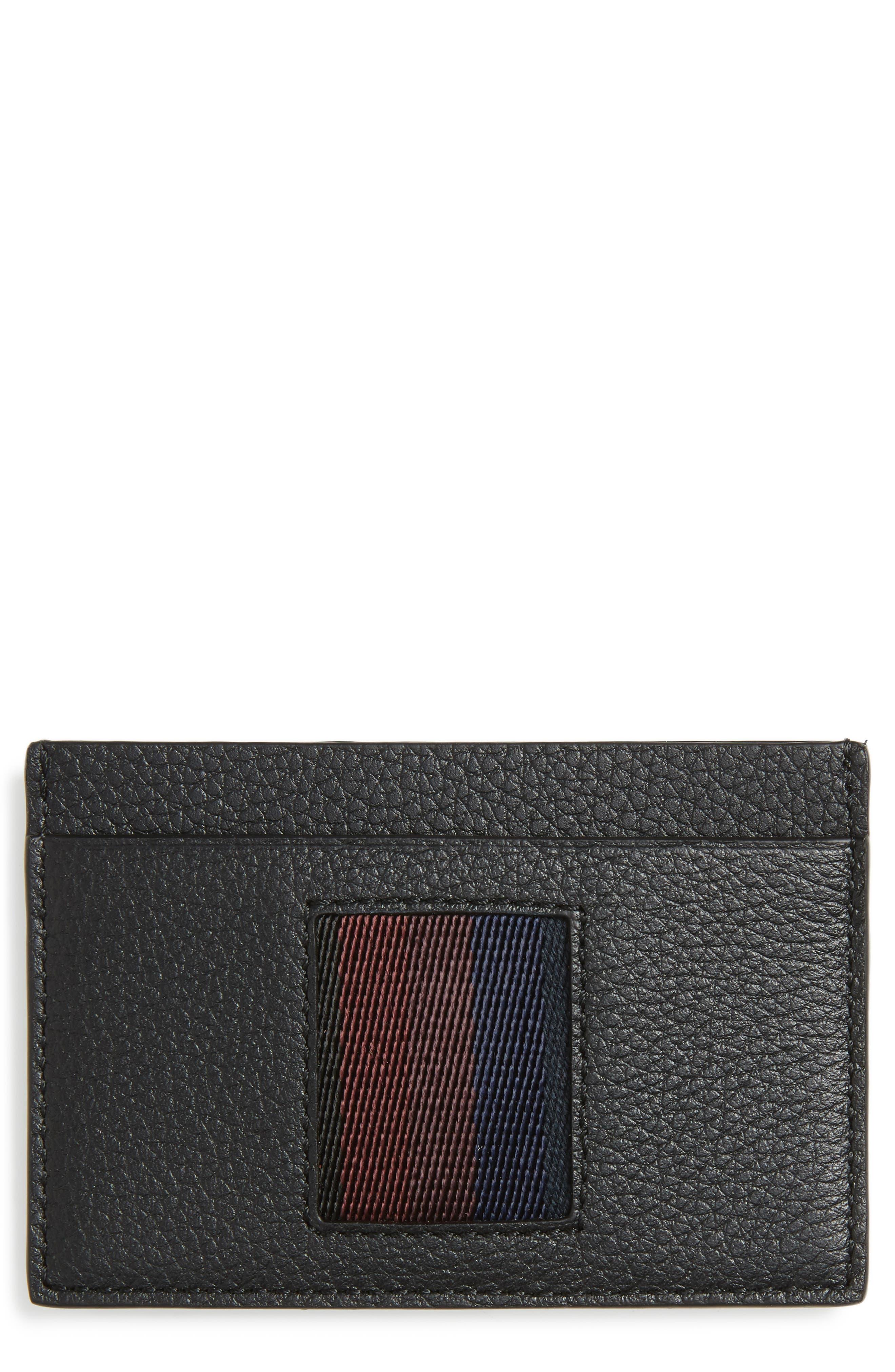 Stripe Webbing Leather Card Case,                         Main,                         color, Black