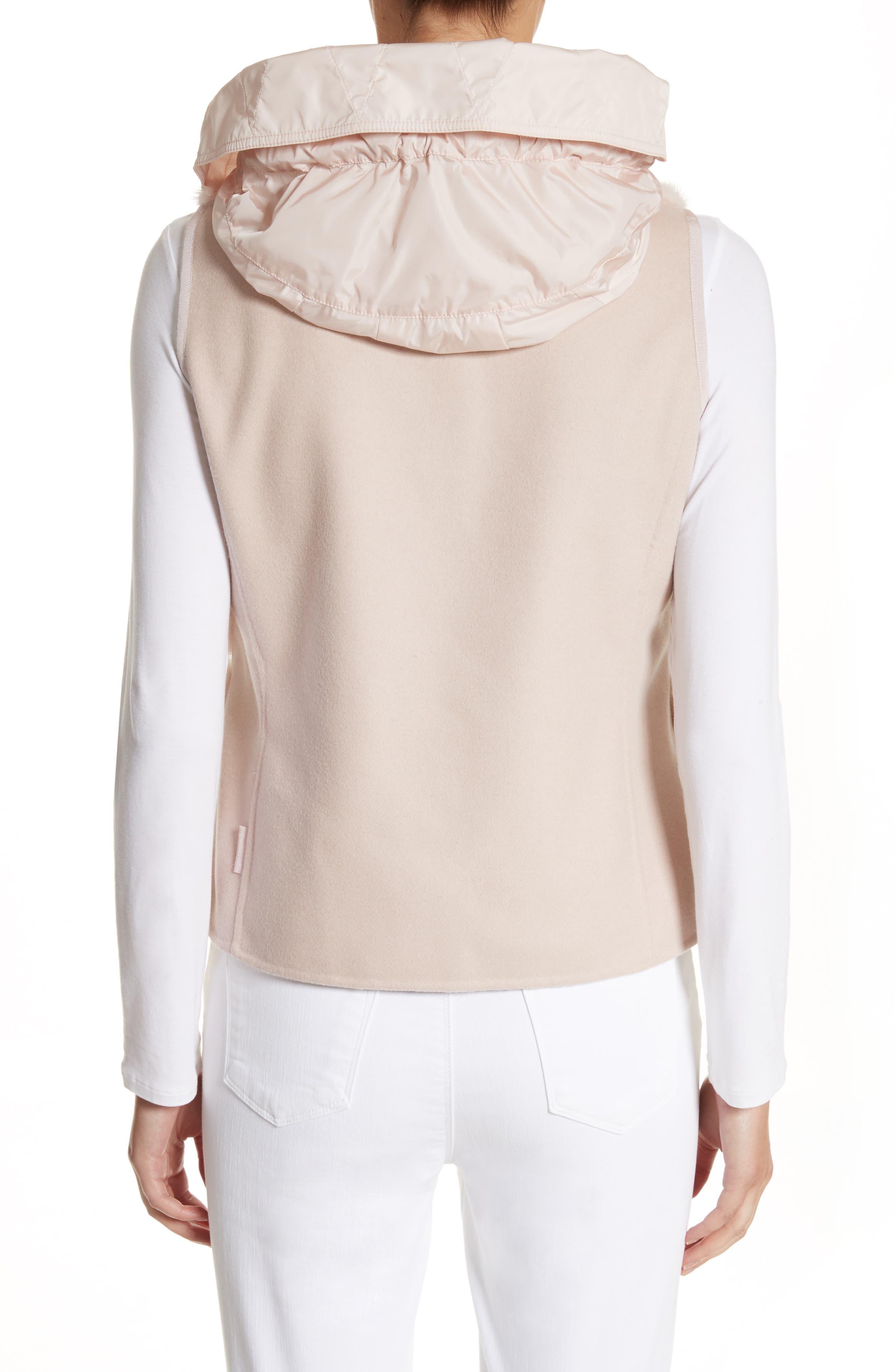 Ametrine Wool & Cashmere Vest with Genuine Mink Fur Trim & Removable Hood,                             Alternate thumbnail 2, color,                             Blush