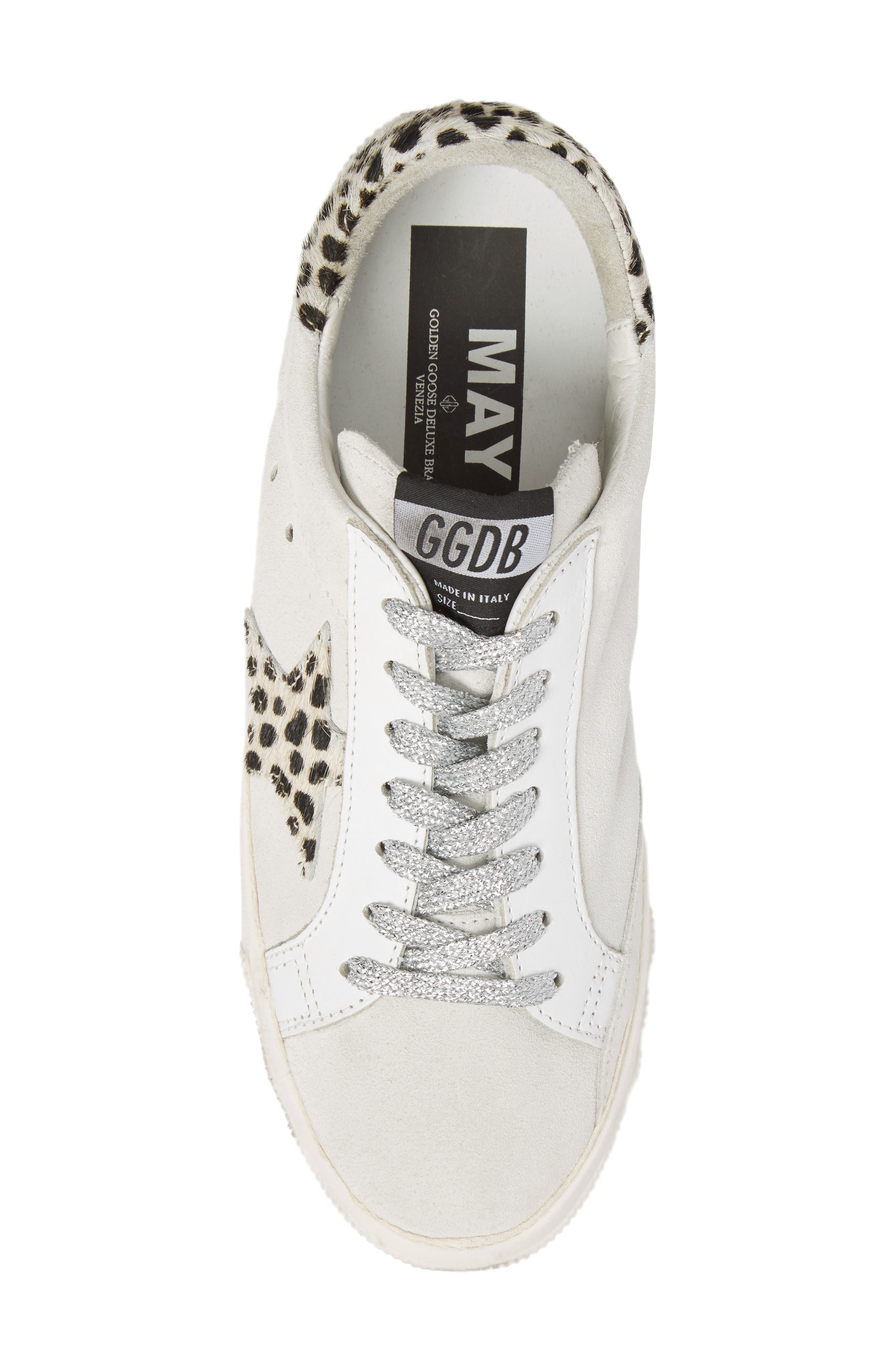 May Low Top Sneaker,                             Alternate thumbnail 5, color,                             White Suede/ Leopard