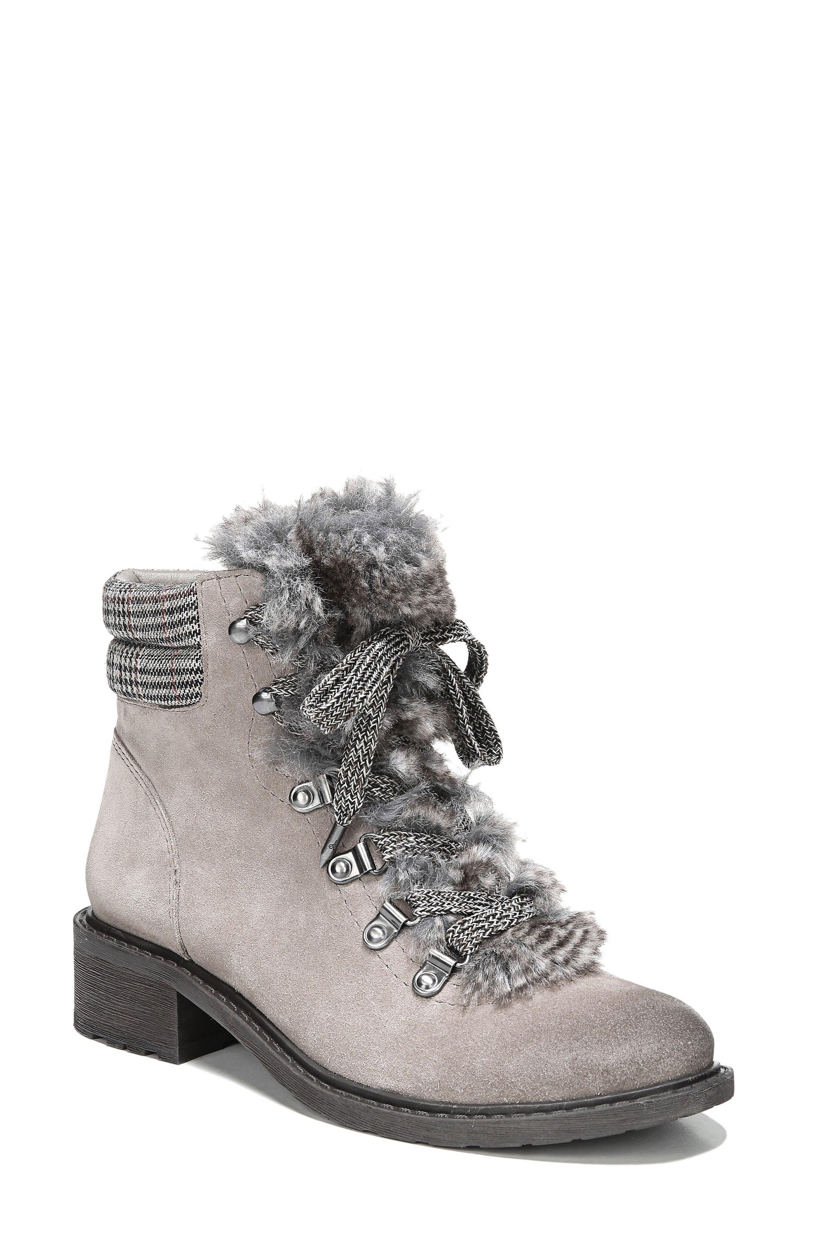Darrah 2 Faux Fur Trim Boot,                             Main thumbnail 1, color,                             Grey Multi Suede