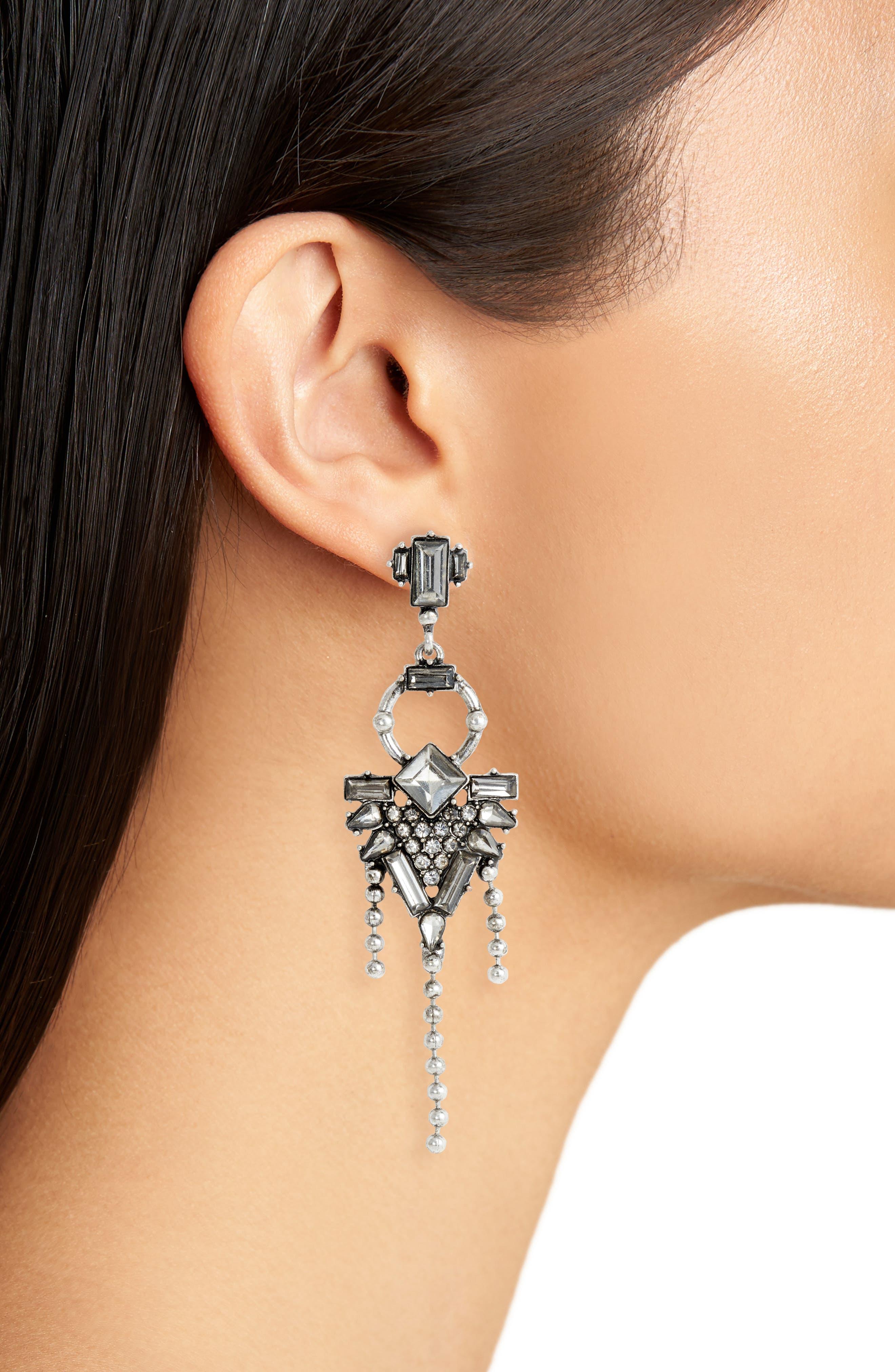 Asymmetrical Drop Earrings,                             Alternate thumbnail 2, color,                             Antiqued Silver
