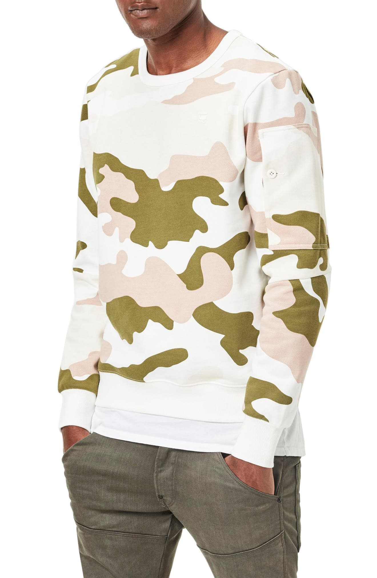 Stalt Camo Sweatshirt,                         Main,                         color, Milk/ Marble