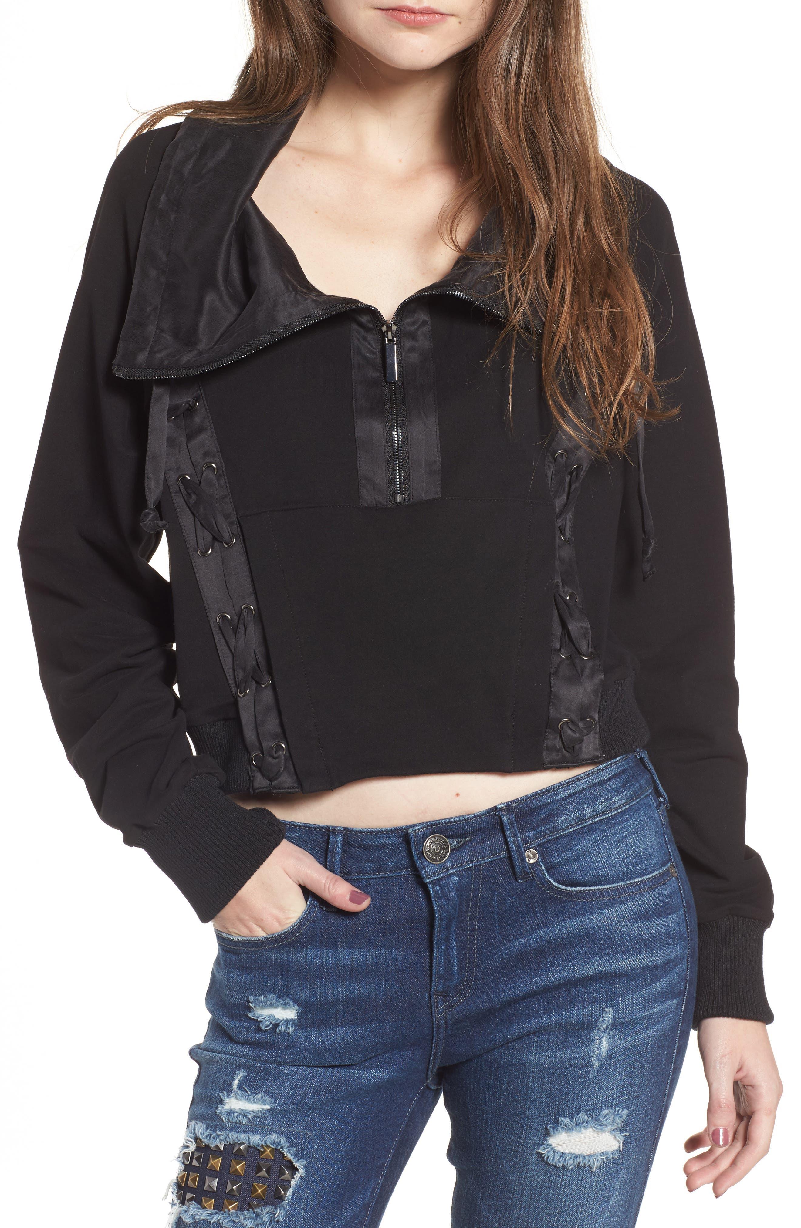 Lace-Up Sweatshirt,                             Main thumbnail 1, color,                             Black