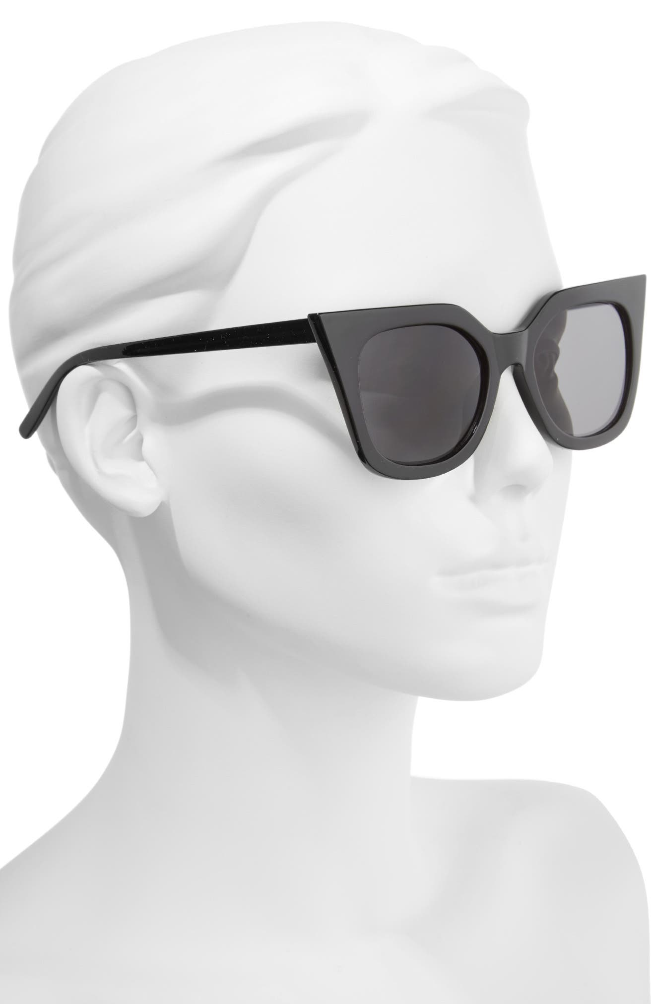 48mm Cat Eye Sunglasses,                             Alternate thumbnail 2, color,                             Black
