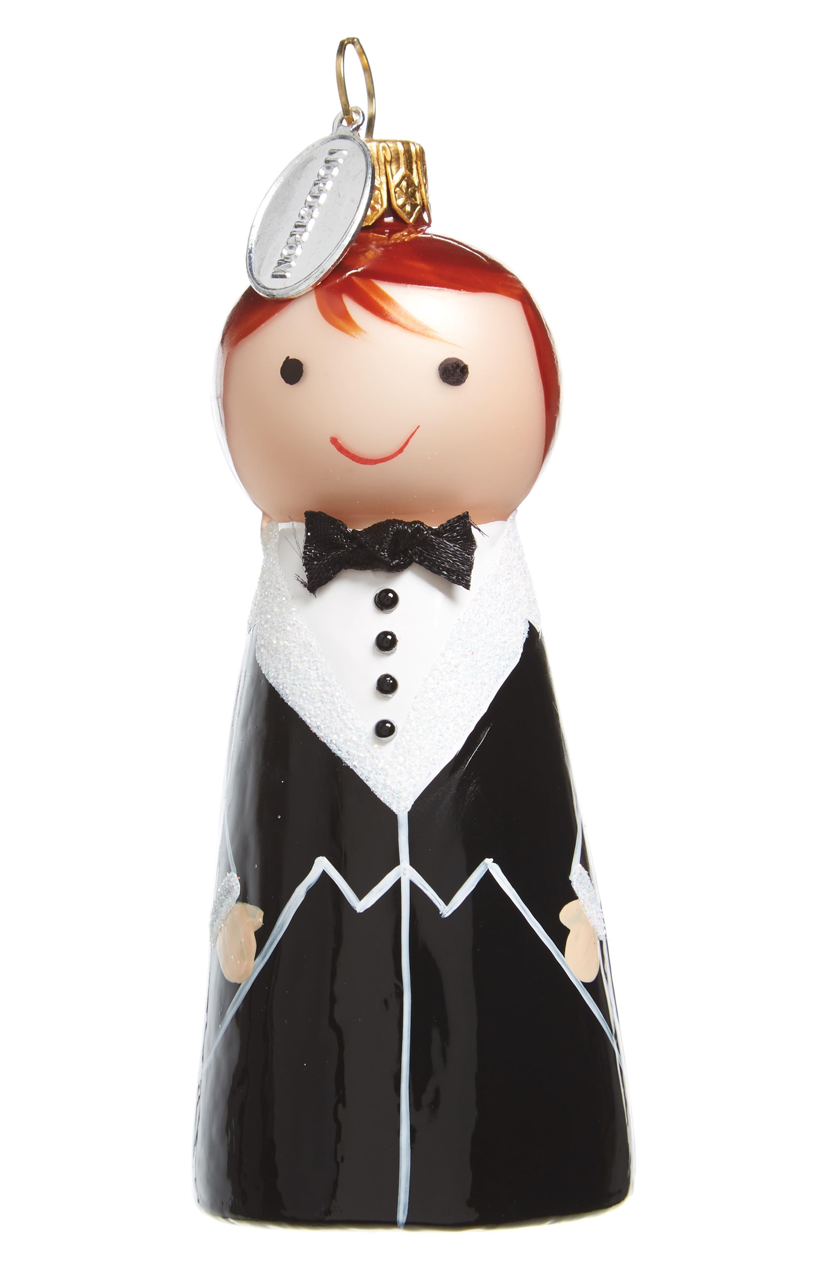 Nordstrom Glass Wedding Ornament,                         Main,                         color, Black Suit Groom