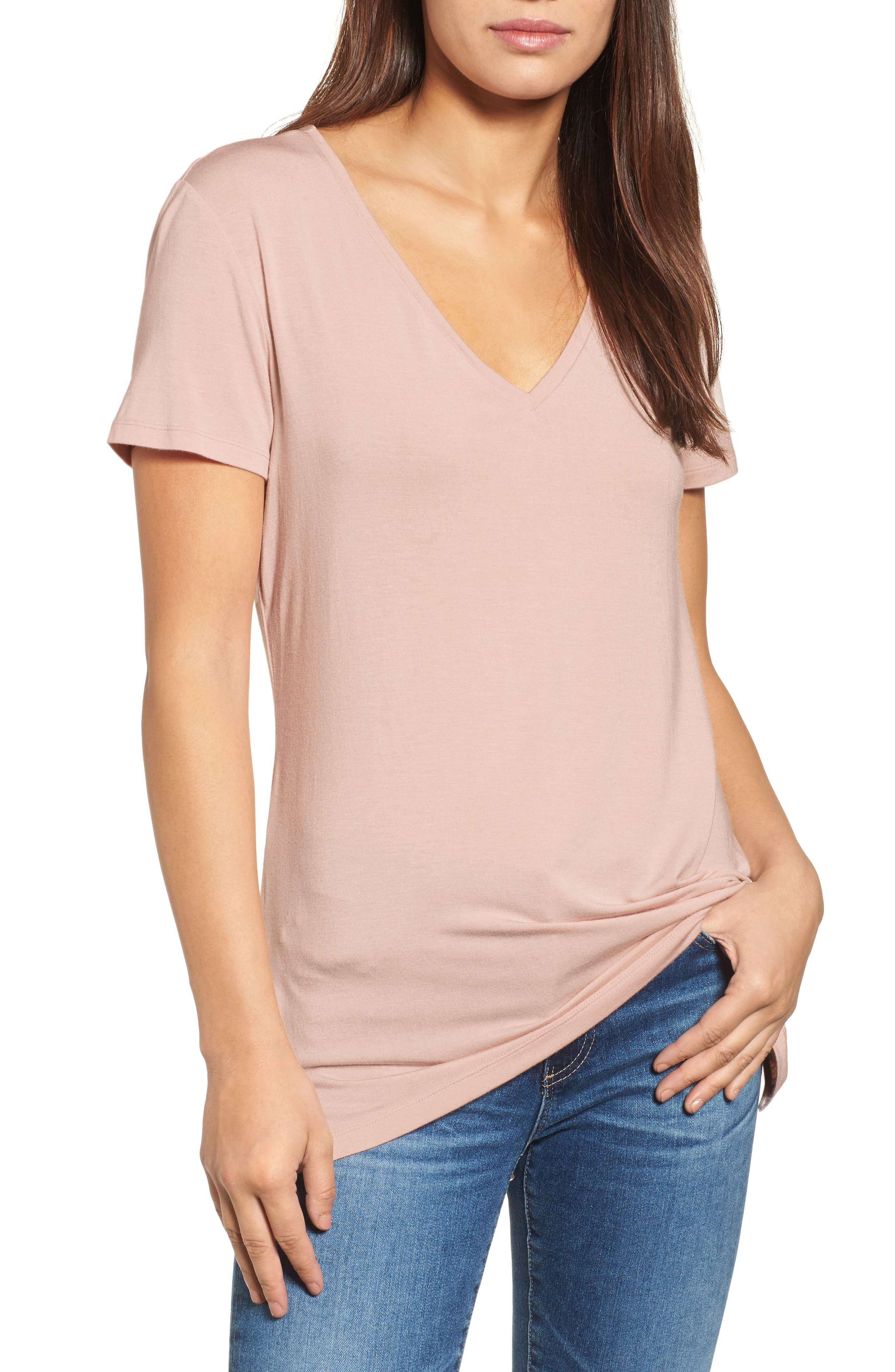Main Image - Halogen® V-Neck Tunic Tee (Regular & Petite)