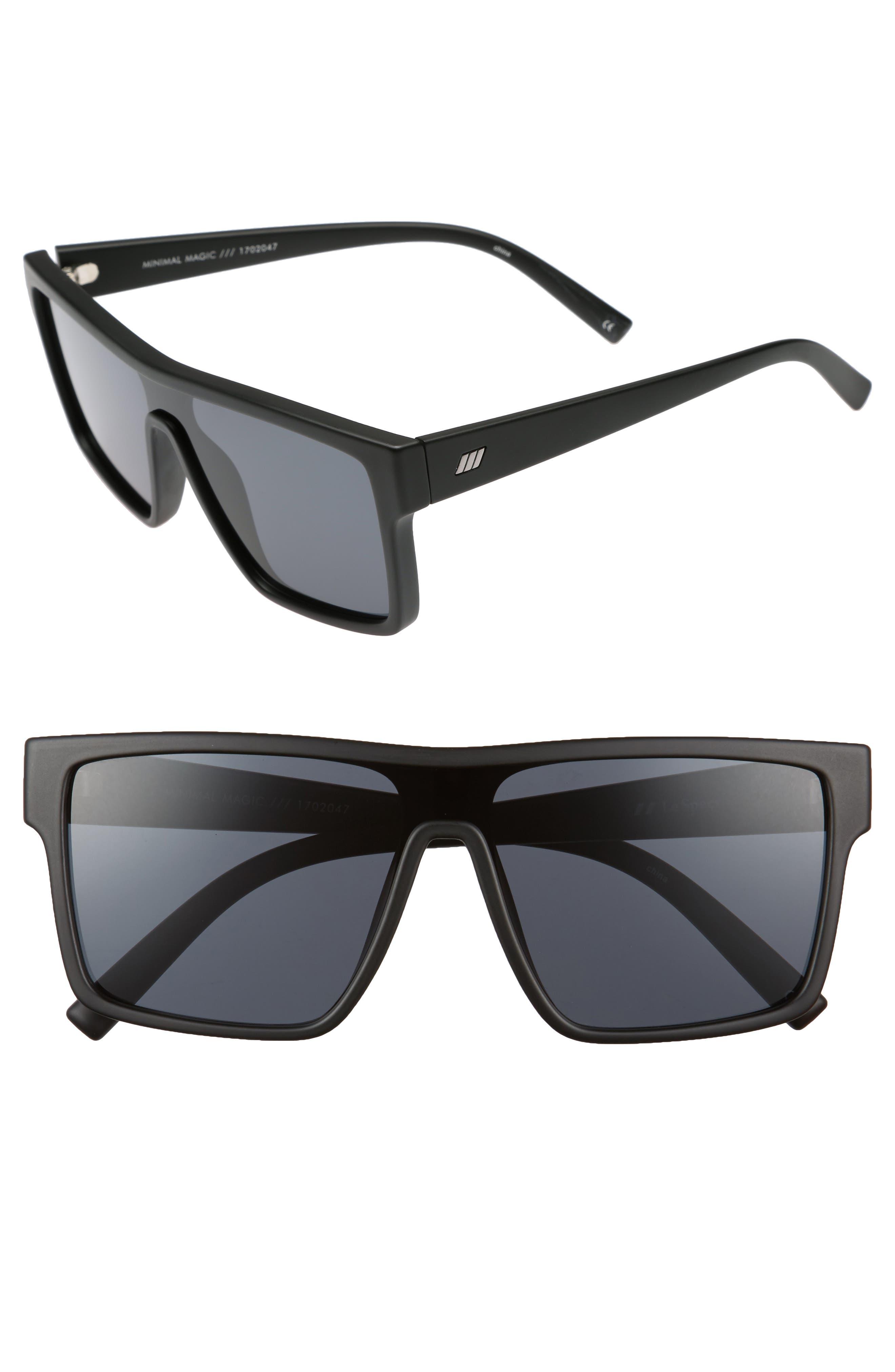 Minimal Magic 54mm Mirror Sunglasses,                         Main,                         color, Matte Black