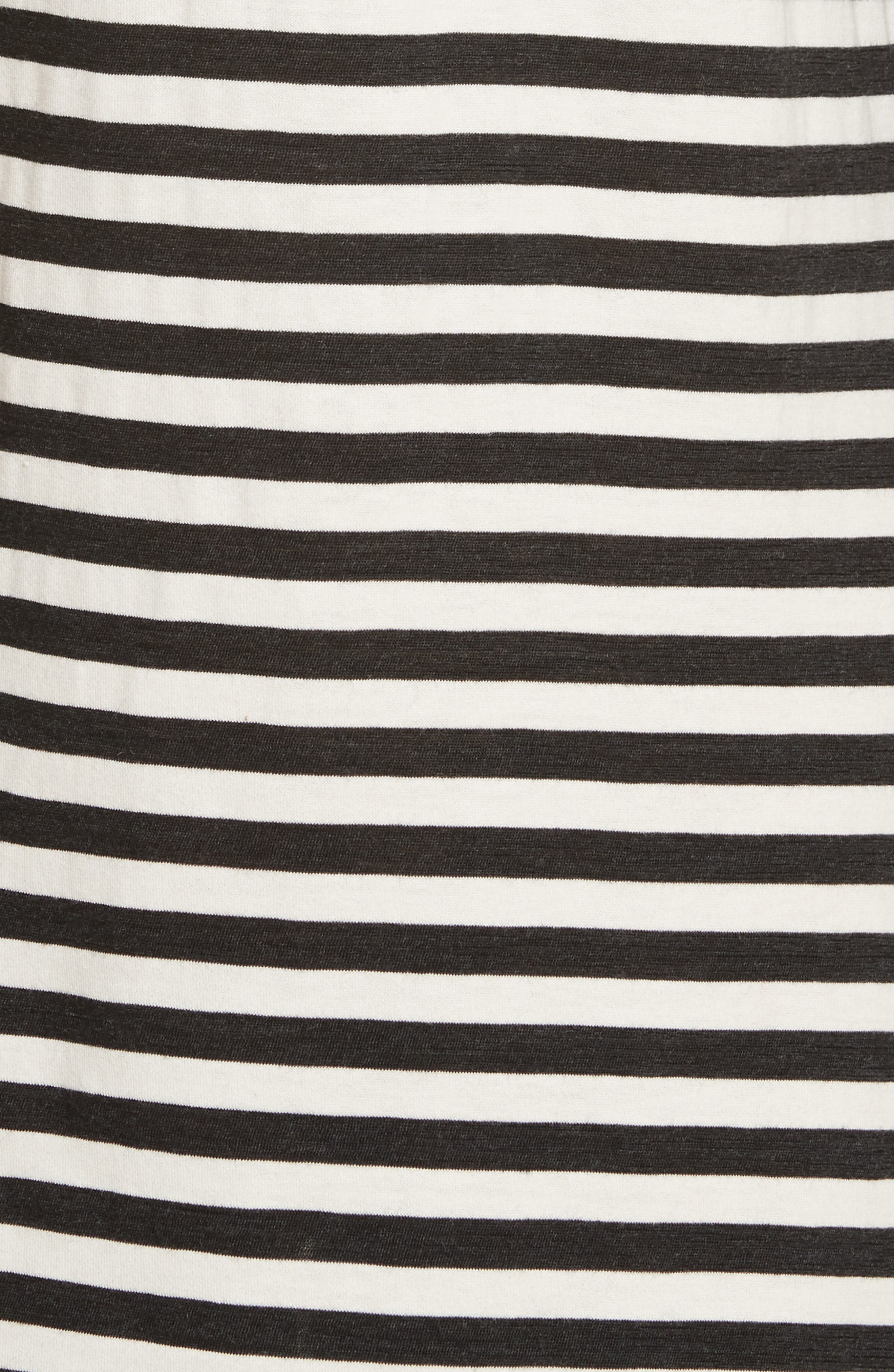 Stripe Jersey Cold Shoulder Dress,                             Alternate thumbnail 5, color,                             Black/ Cream