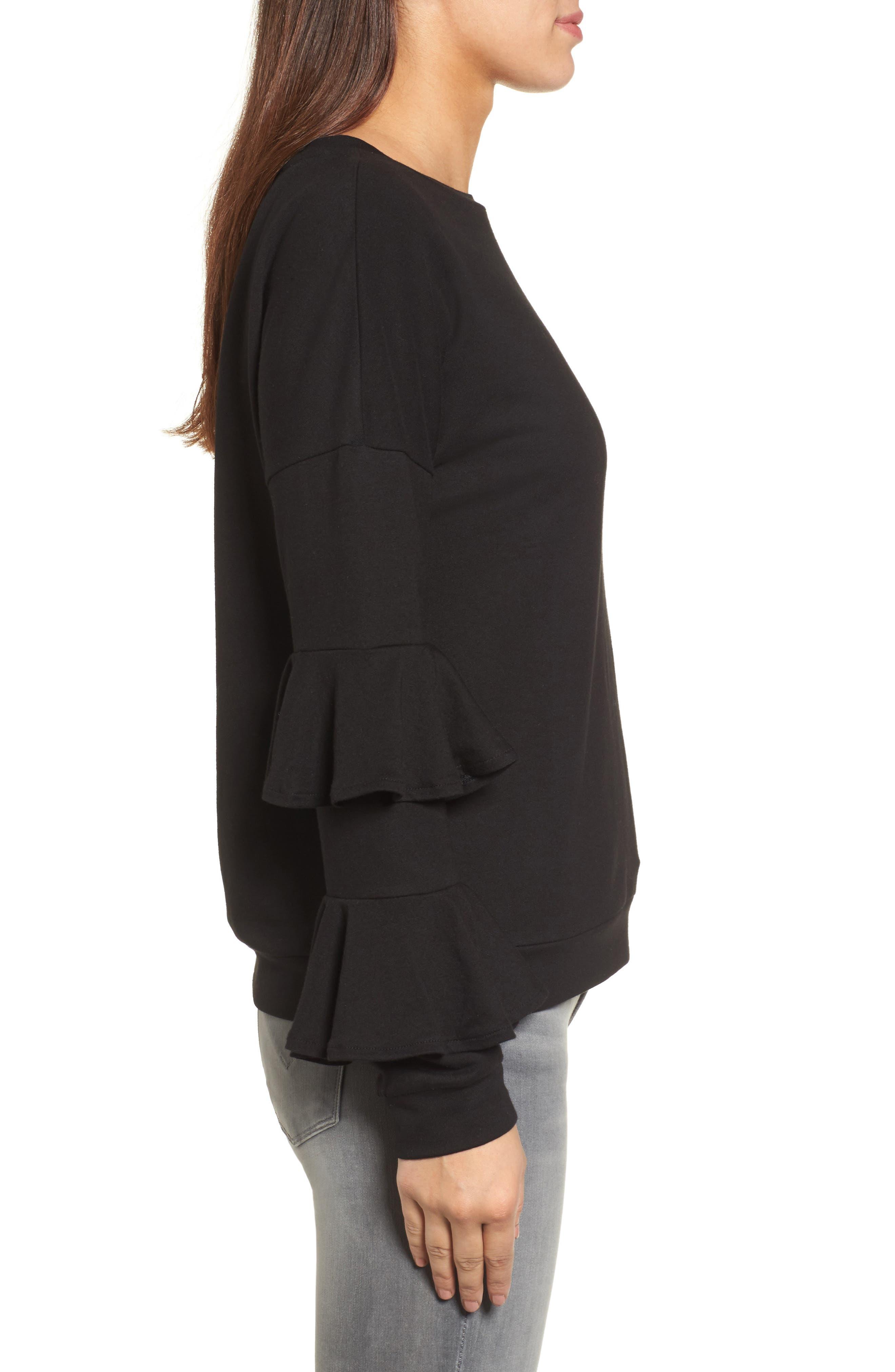 Alternate Image 3  - Halogen® Ruffle Sleeve Sweatshirt (Regular & Petite)