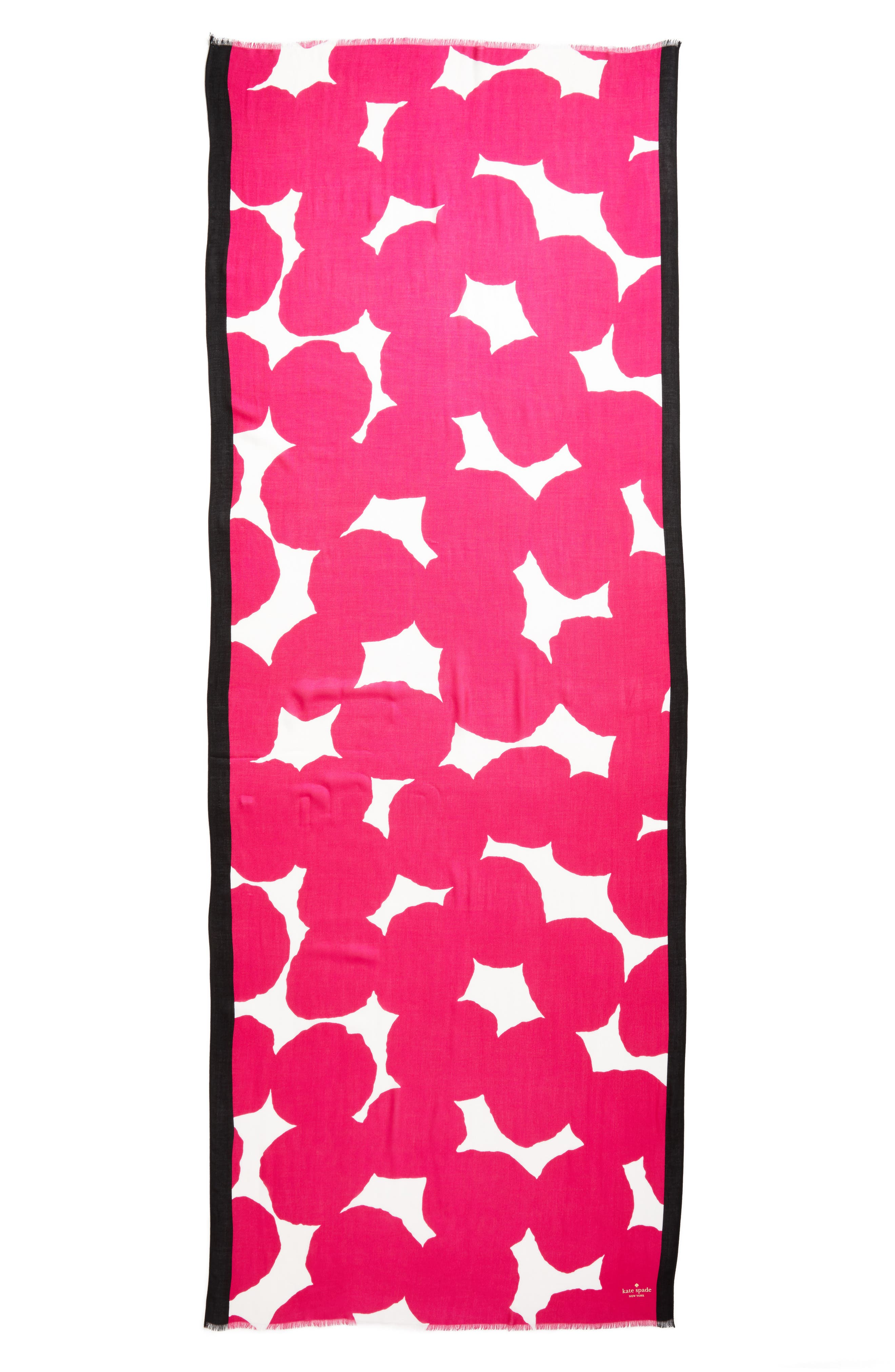 large dot oblong scarf,                             Alternate thumbnail 3, color,                             Cabaret Pink