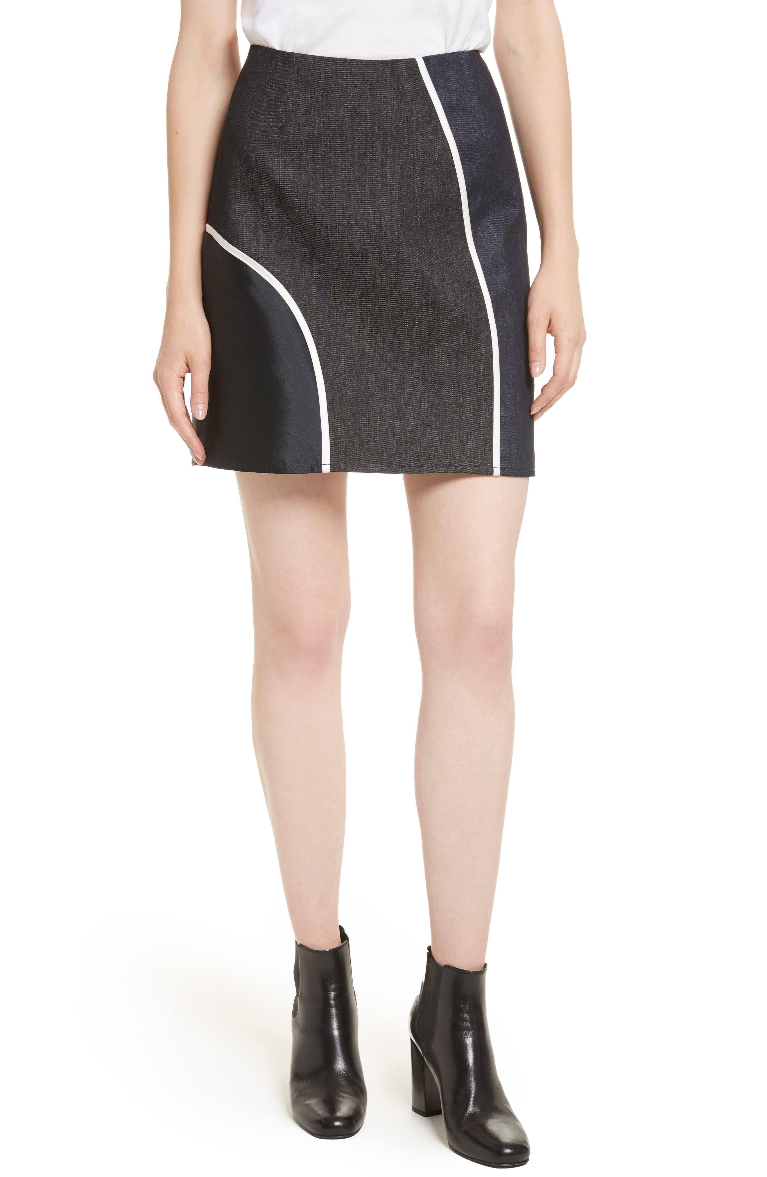Roberto Mixed Media Skirt,                         Main,                         color, Denim