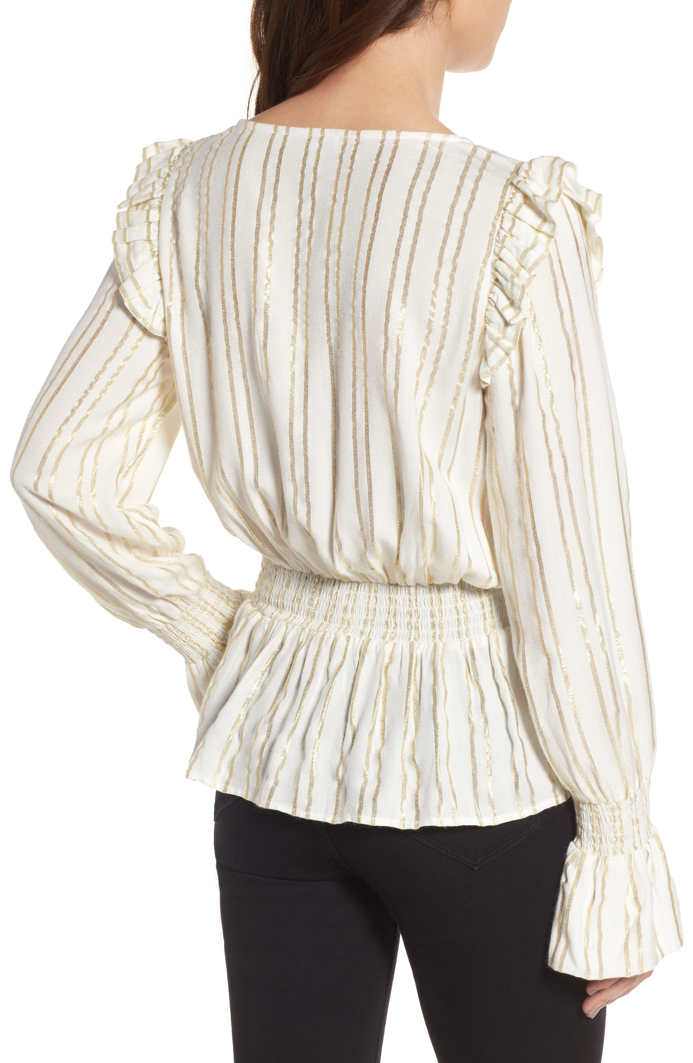 Alternate Image 2  - Hinge Metallic Smocked Blouse