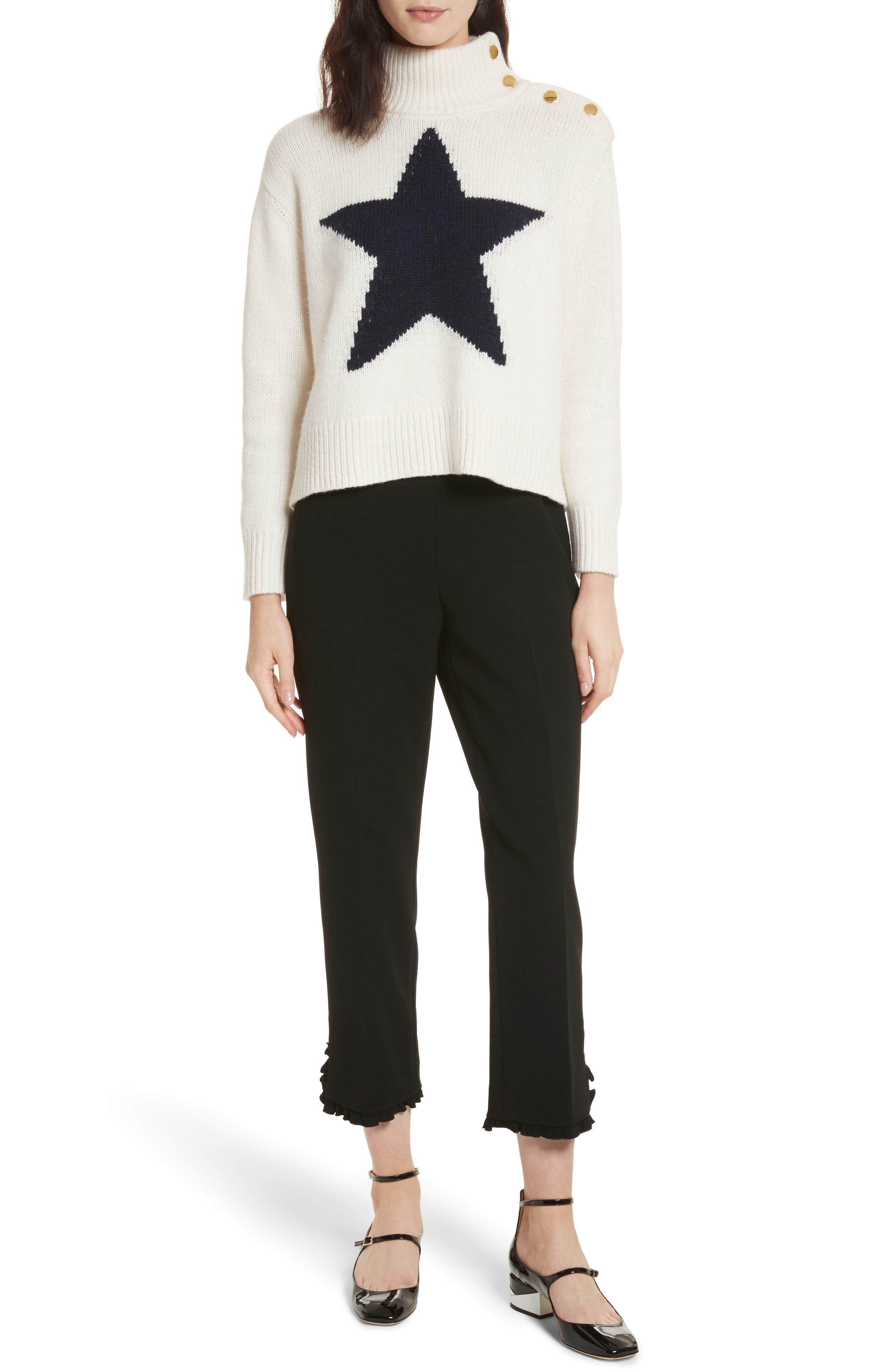 star turtleneck sweater,                             Alternate thumbnail 3, color,                             Cream/ Navy