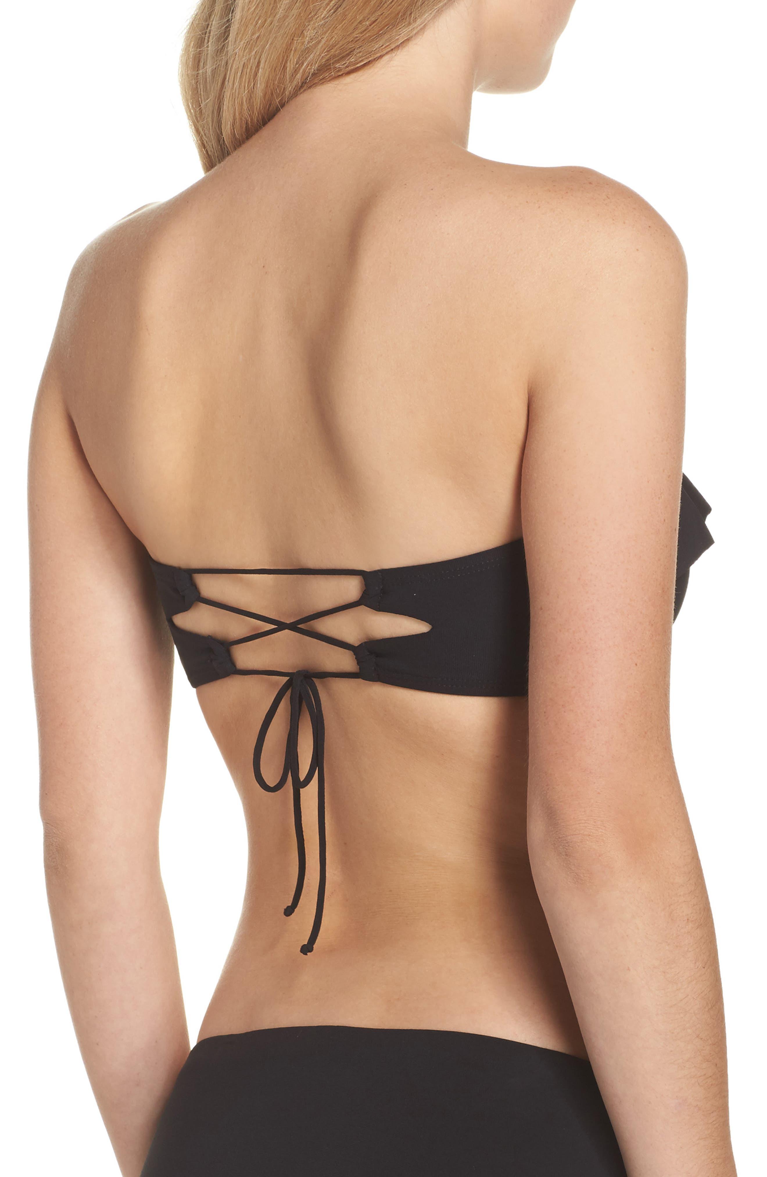 Lina Ruffle Bandeau Bikini Top,                             Alternate thumbnail 2, color,                             Black