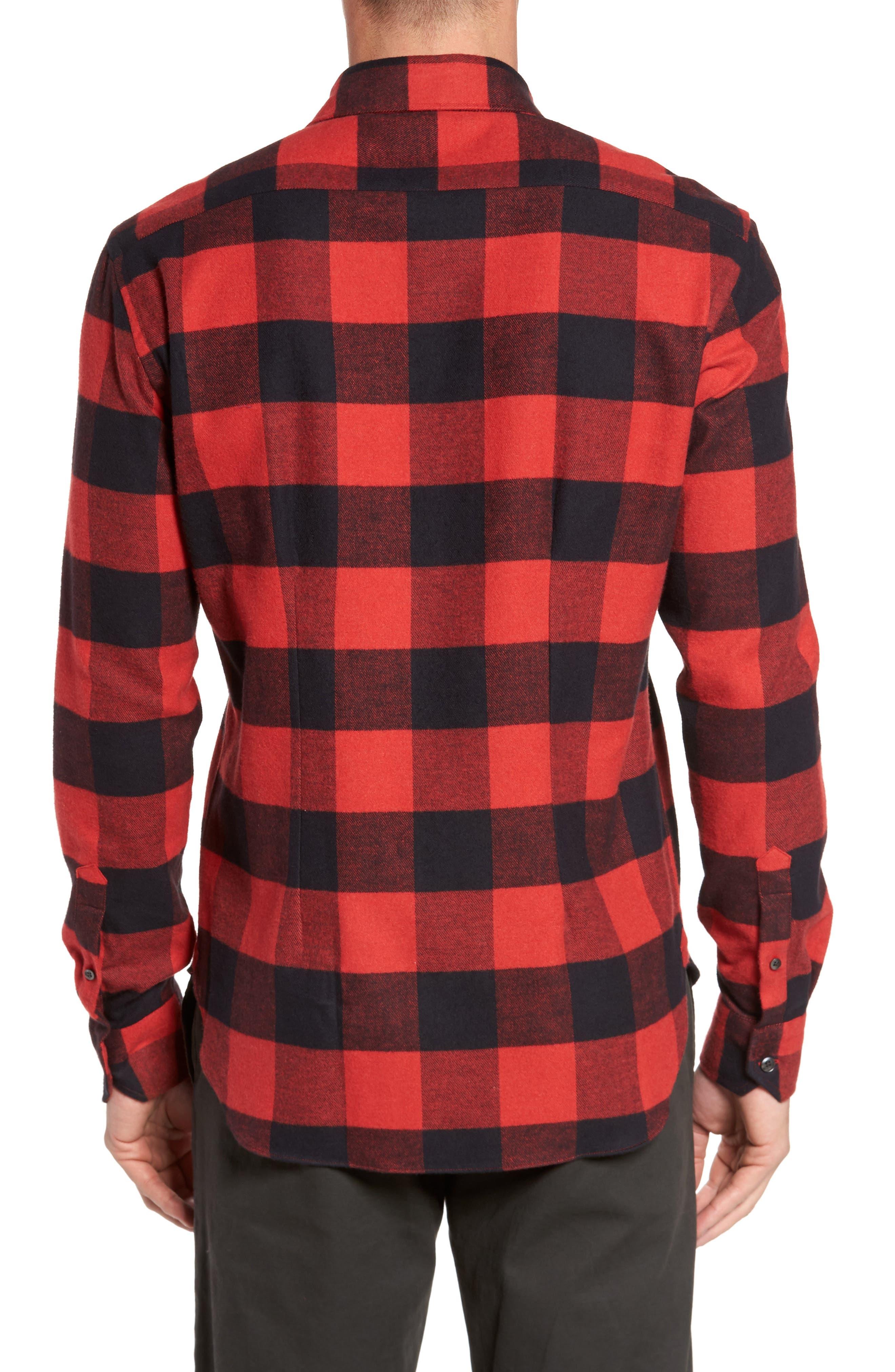 Slim Fit Buffalo Plaid Sport Shirt,                             Alternate thumbnail 2, color,                             Red