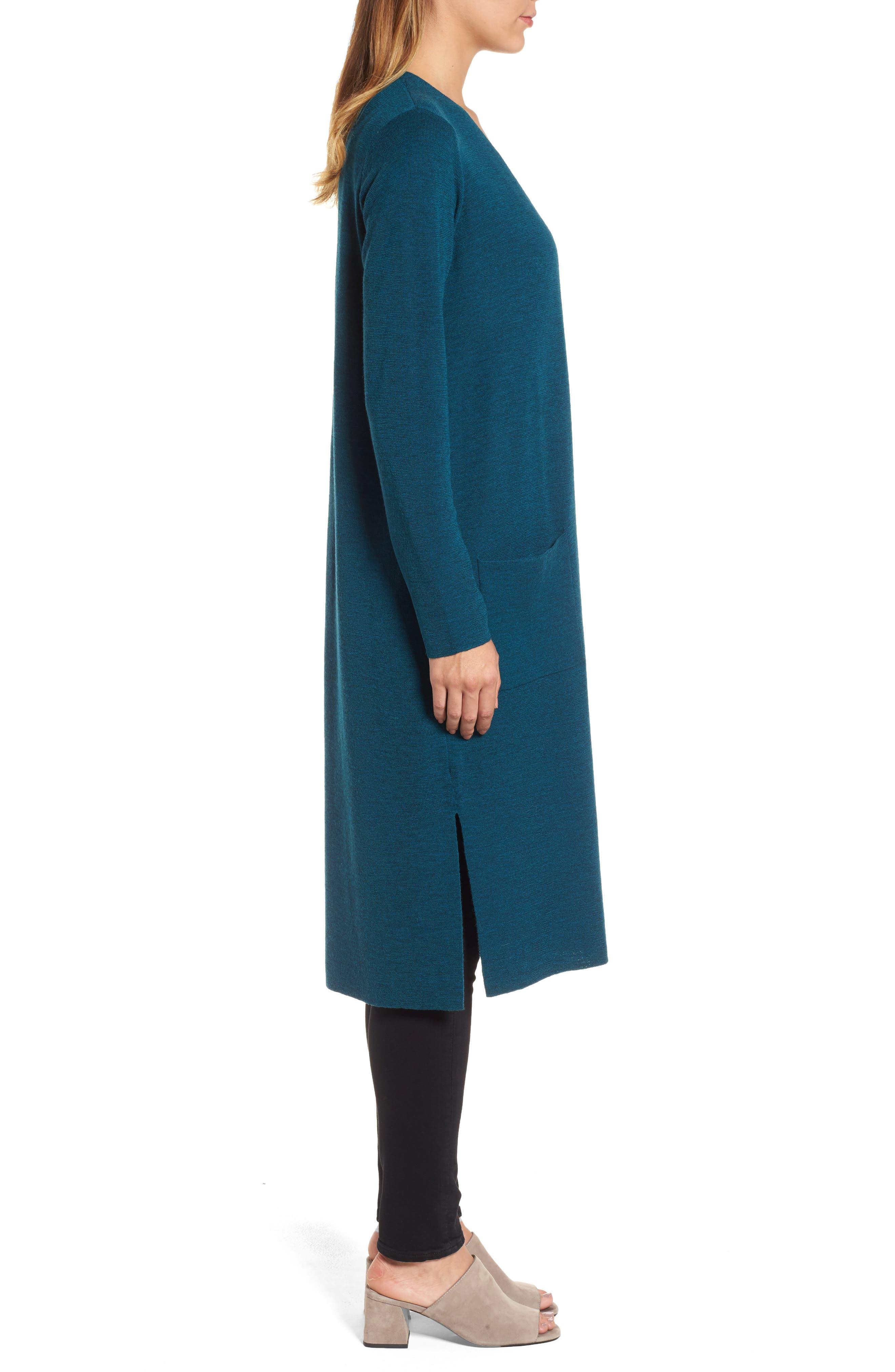 Long Merino Wool Cardigan,                             Alternate thumbnail 3, color,                             Blue Spruce
