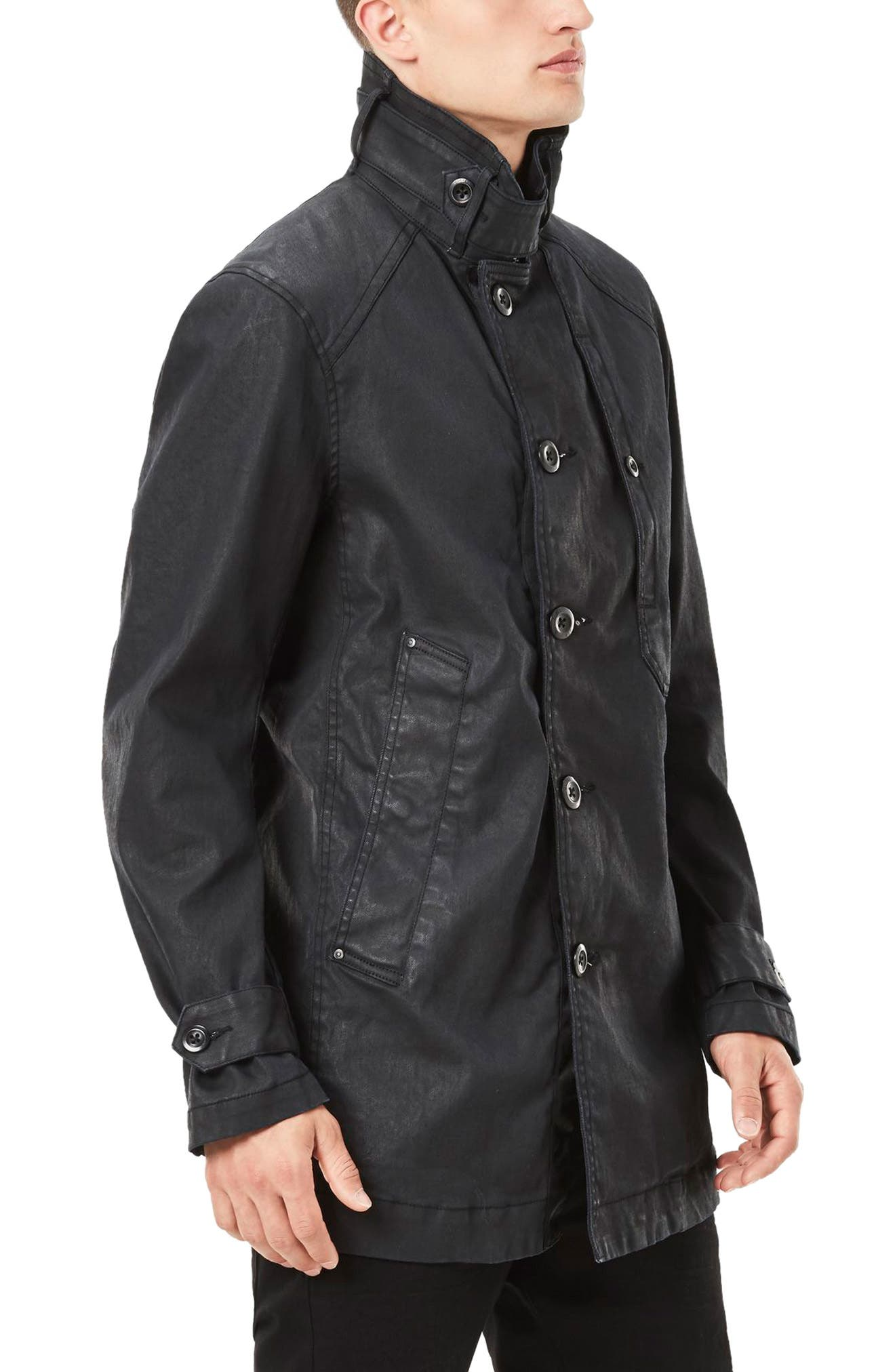 Garber Denim Trench Coat,                             Alternate thumbnail 3, color,                             Dark Aged