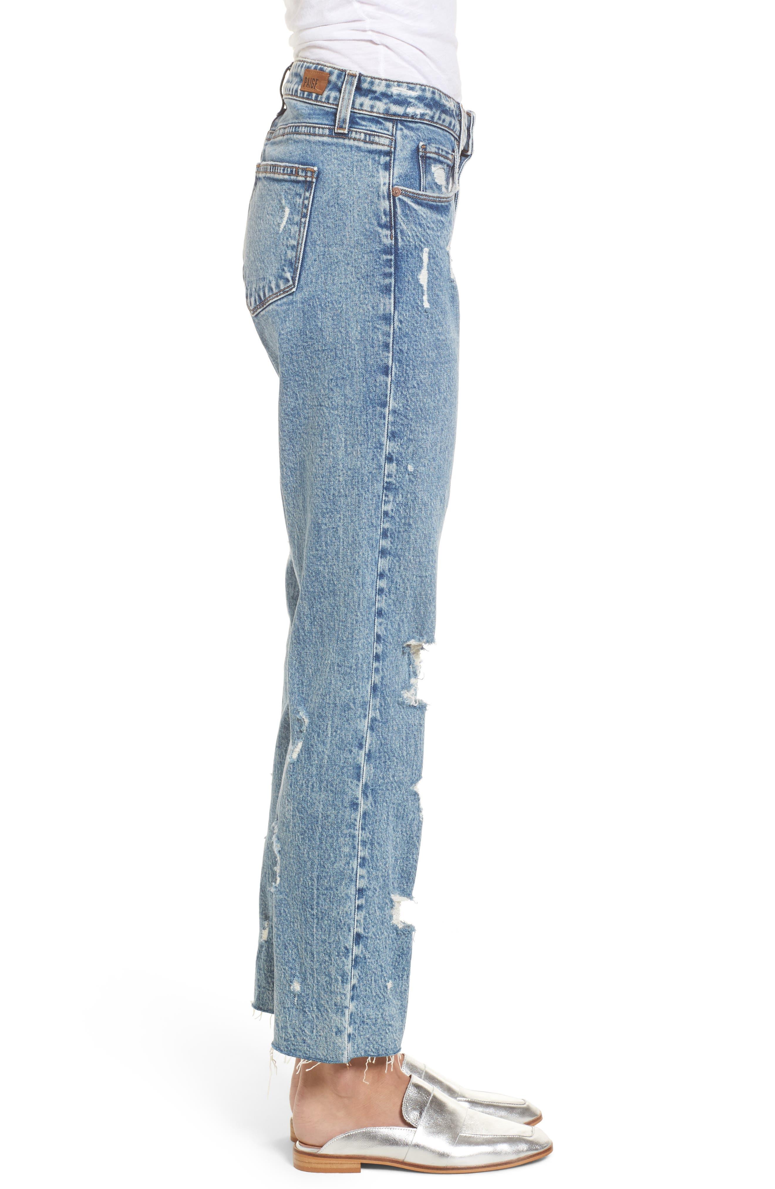 Noella Straight Leg Crop Jeans,                             Alternate thumbnail 4, color,                             Westlyn Destructed