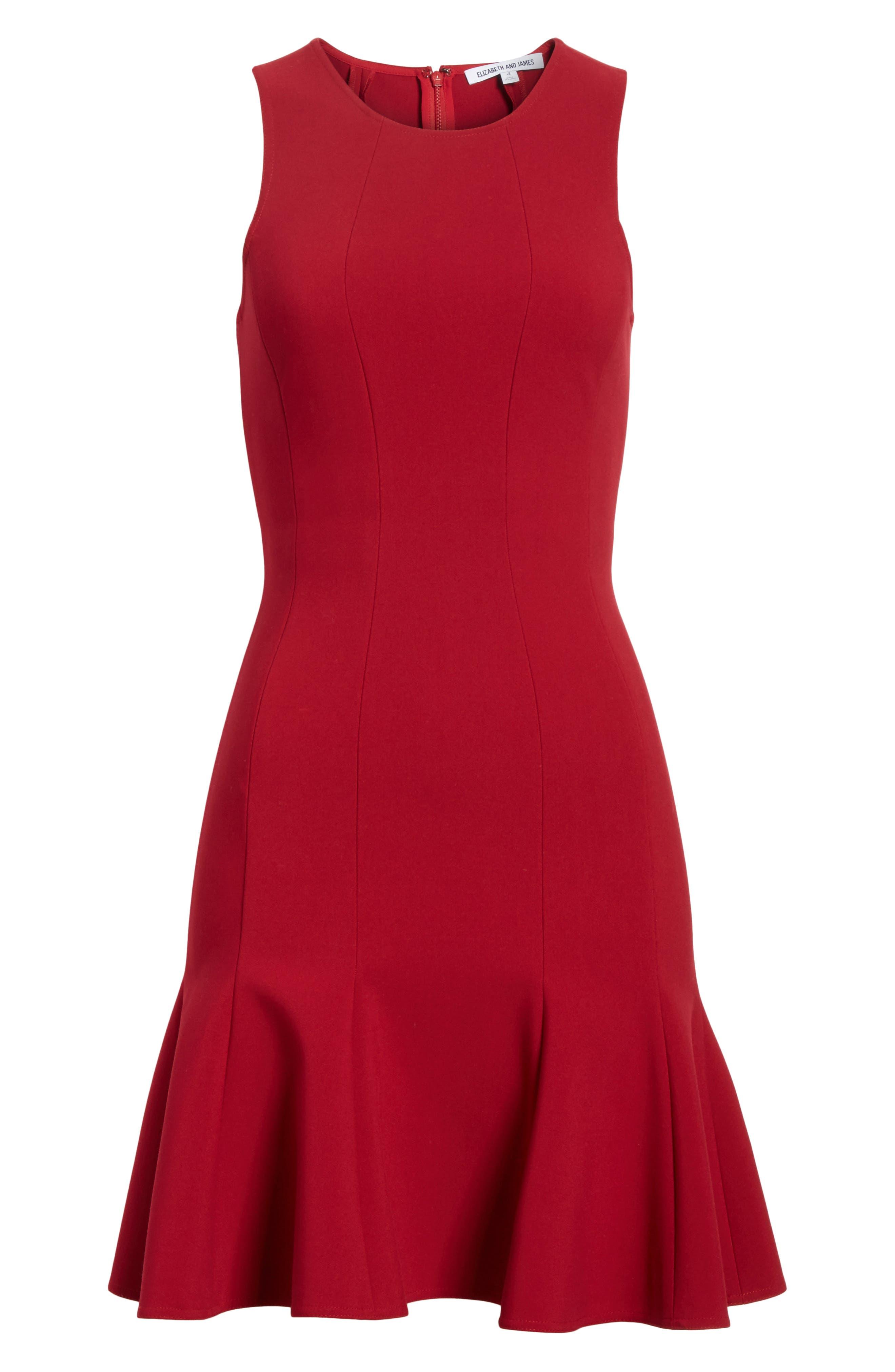 Rooney Flare Hem Dress,                             Alternate thumbnail 6, color,                             Ruby