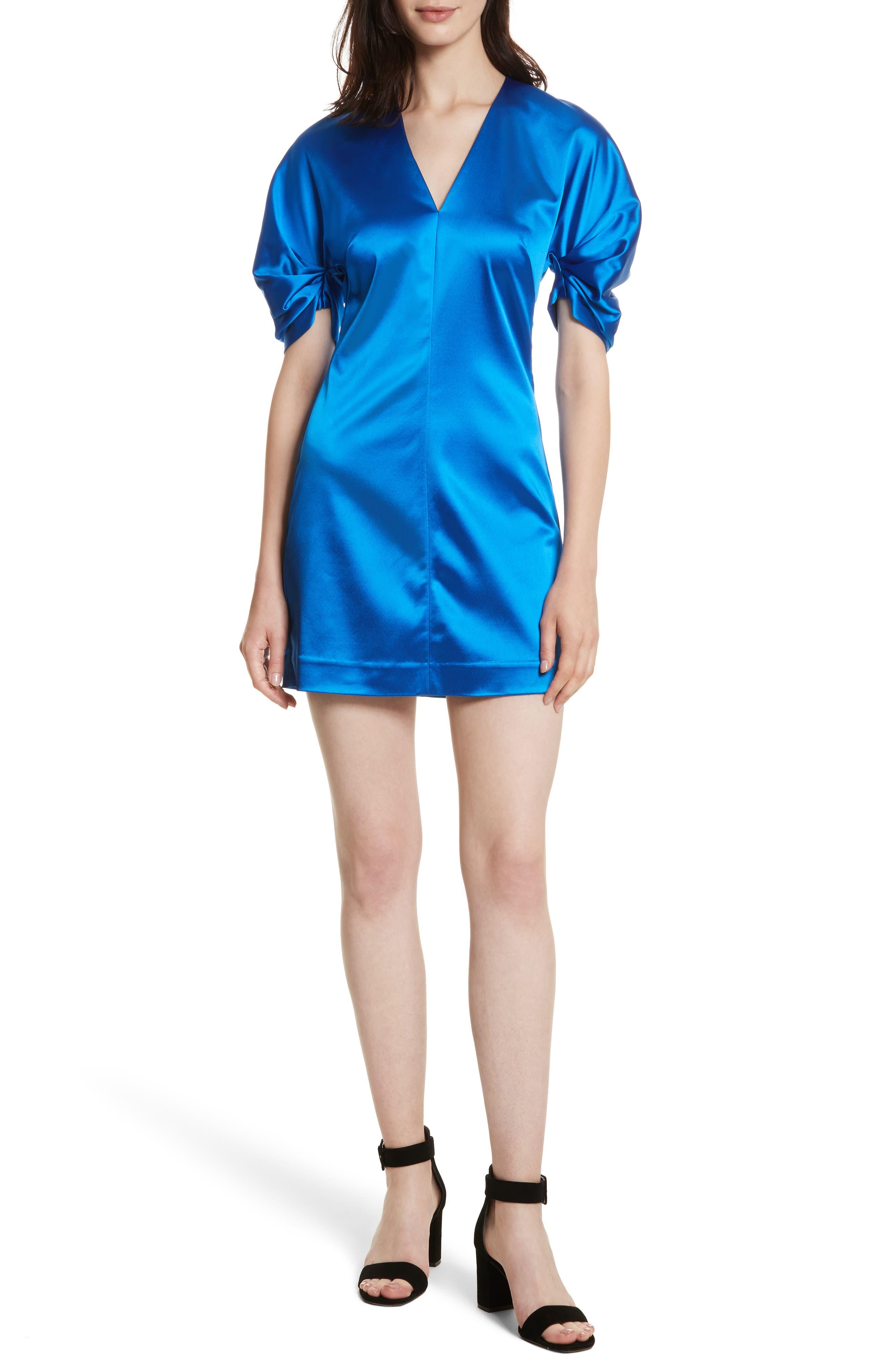 Sloan Duchess Satin Dress,                         Main,                         color, Sapphire