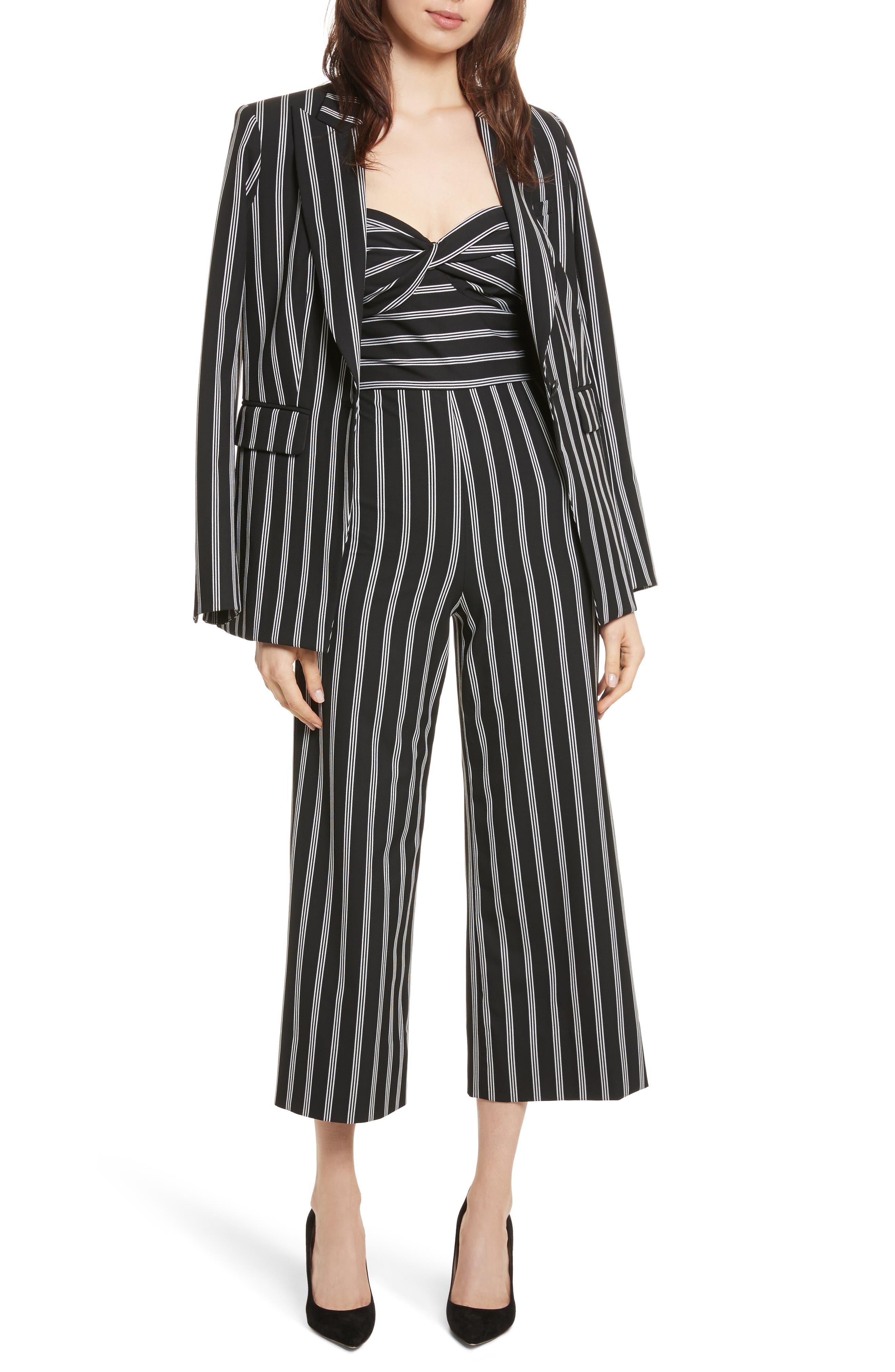 Petra Stripe Jacket,                             Alternate thumbnail 7, color,                             Black/ White