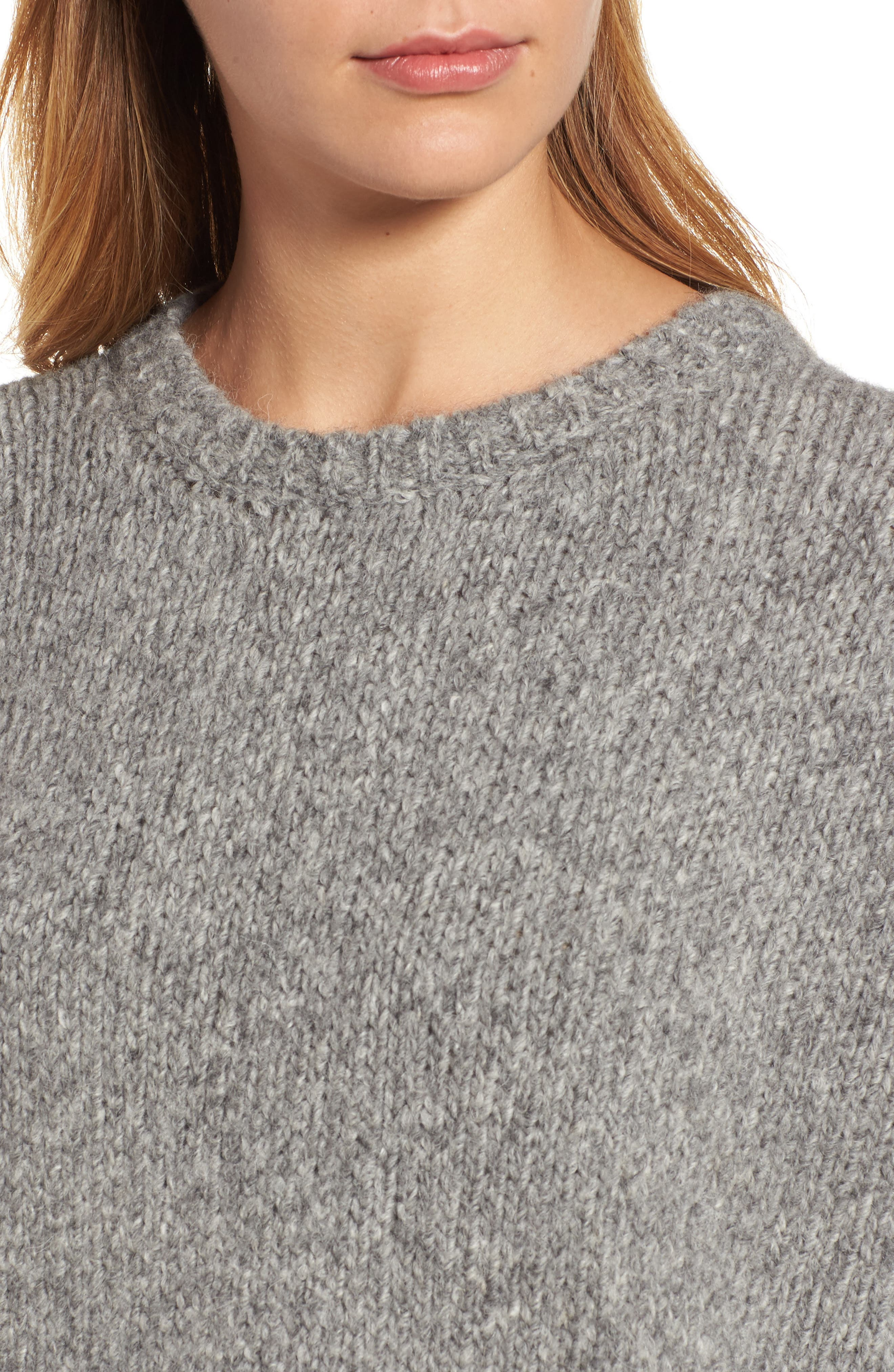High/Low Alpaca Blend Sweater,                             Alternate thumbnail 4, color,                             Moon