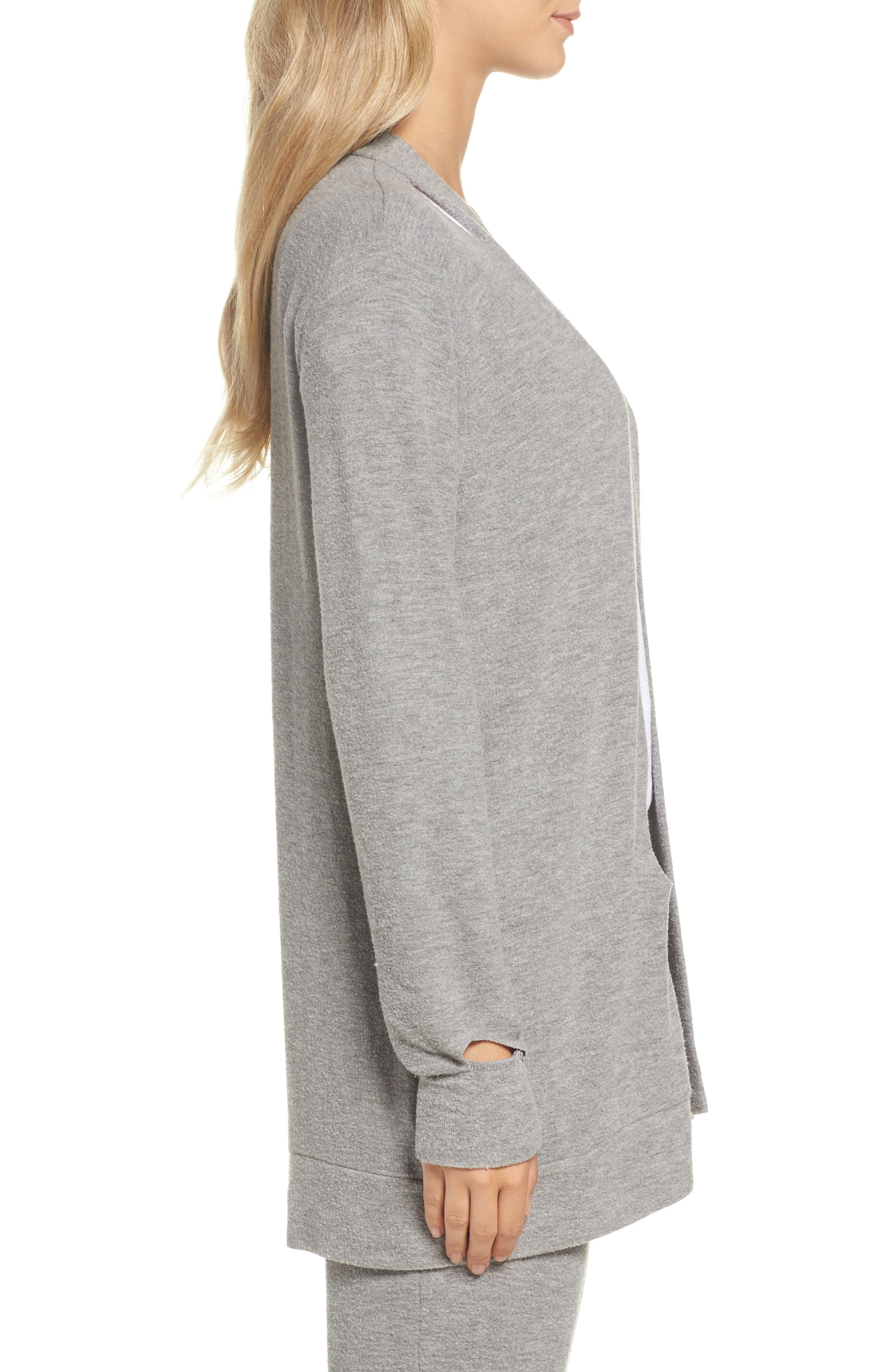 Love Knit Deconstructed Cardigan,                             Alternate thumbnail 3, color,                             Heather Grey