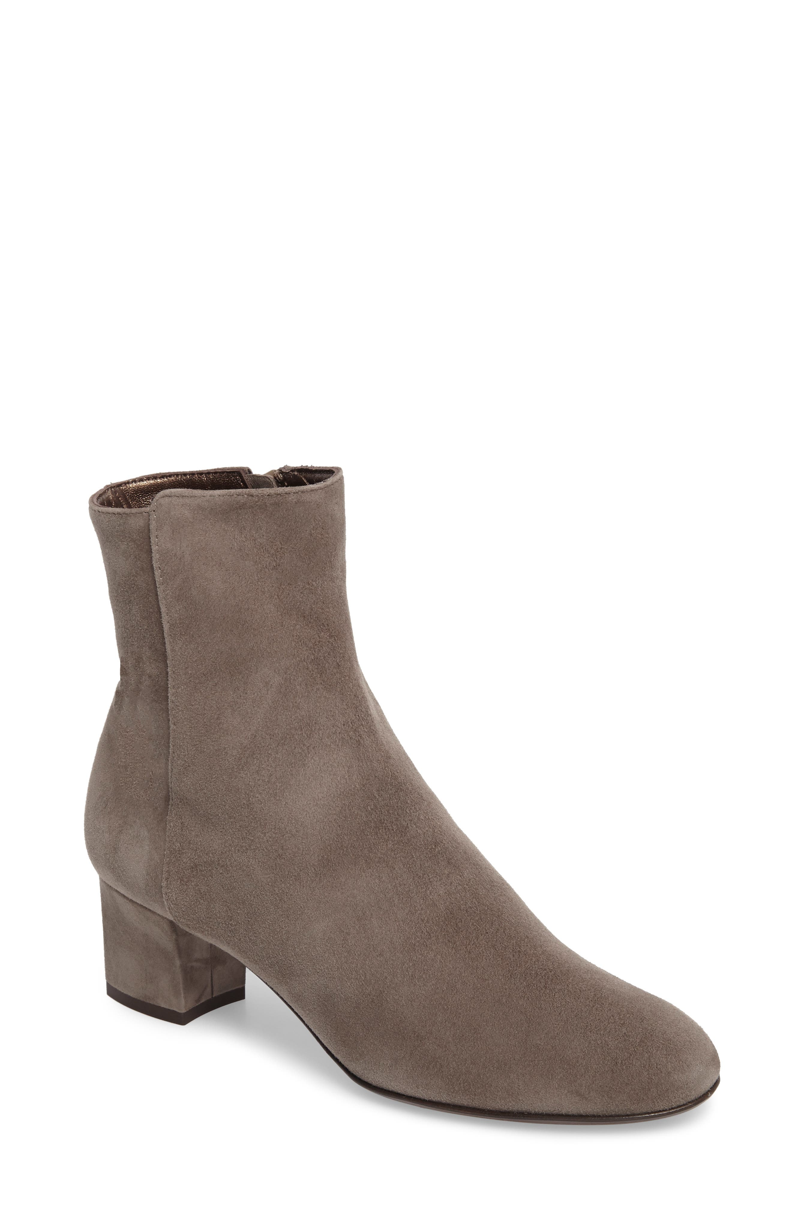 Block Heel Stretch Bootie,                             Main thumbnail 1, color,                             Pewter Suede