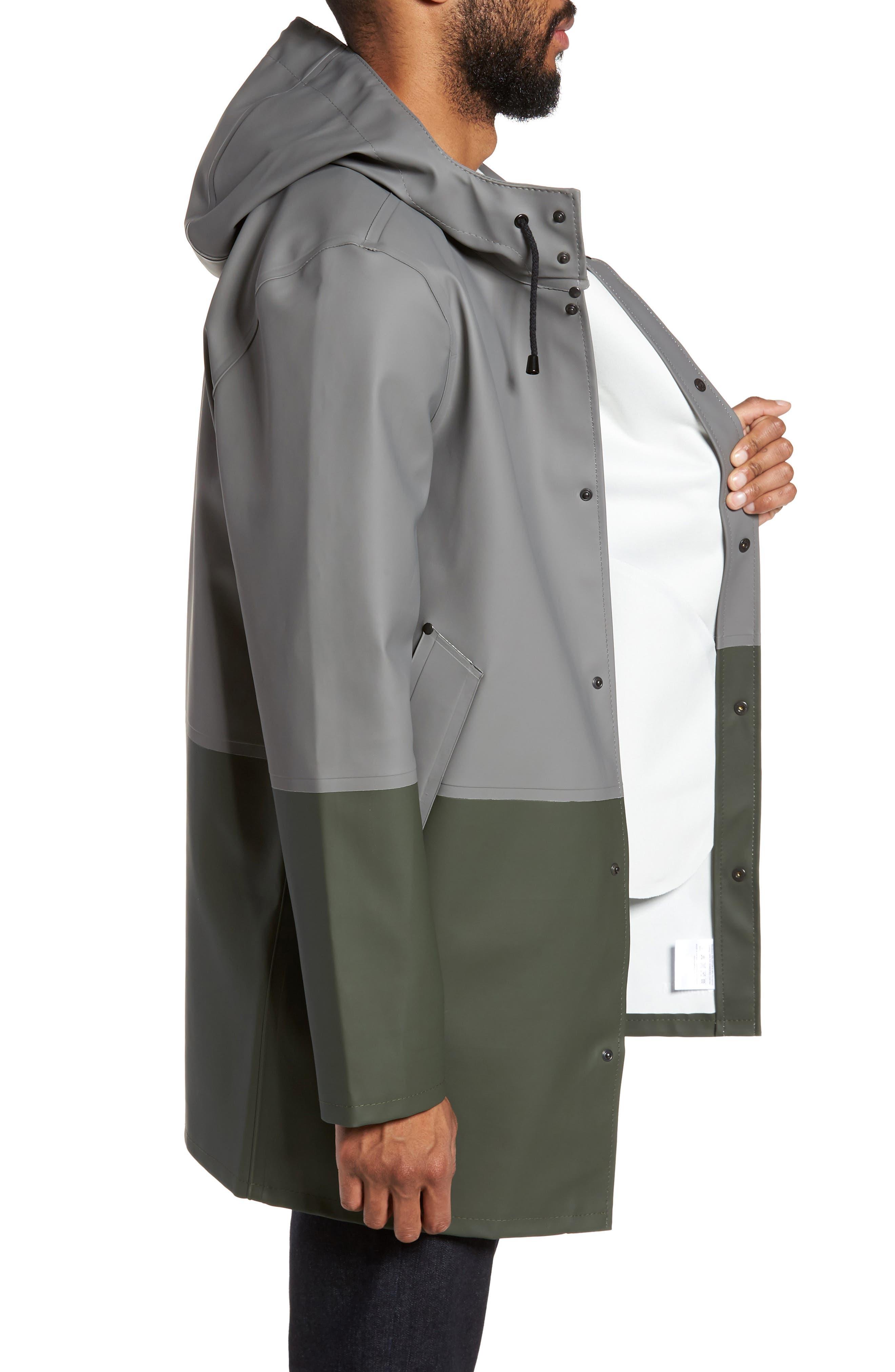 Stockholm Colorblock Waterproof Hooded Raincoat,                             Alternate thumbnail 3, color,                             Grey/ Green