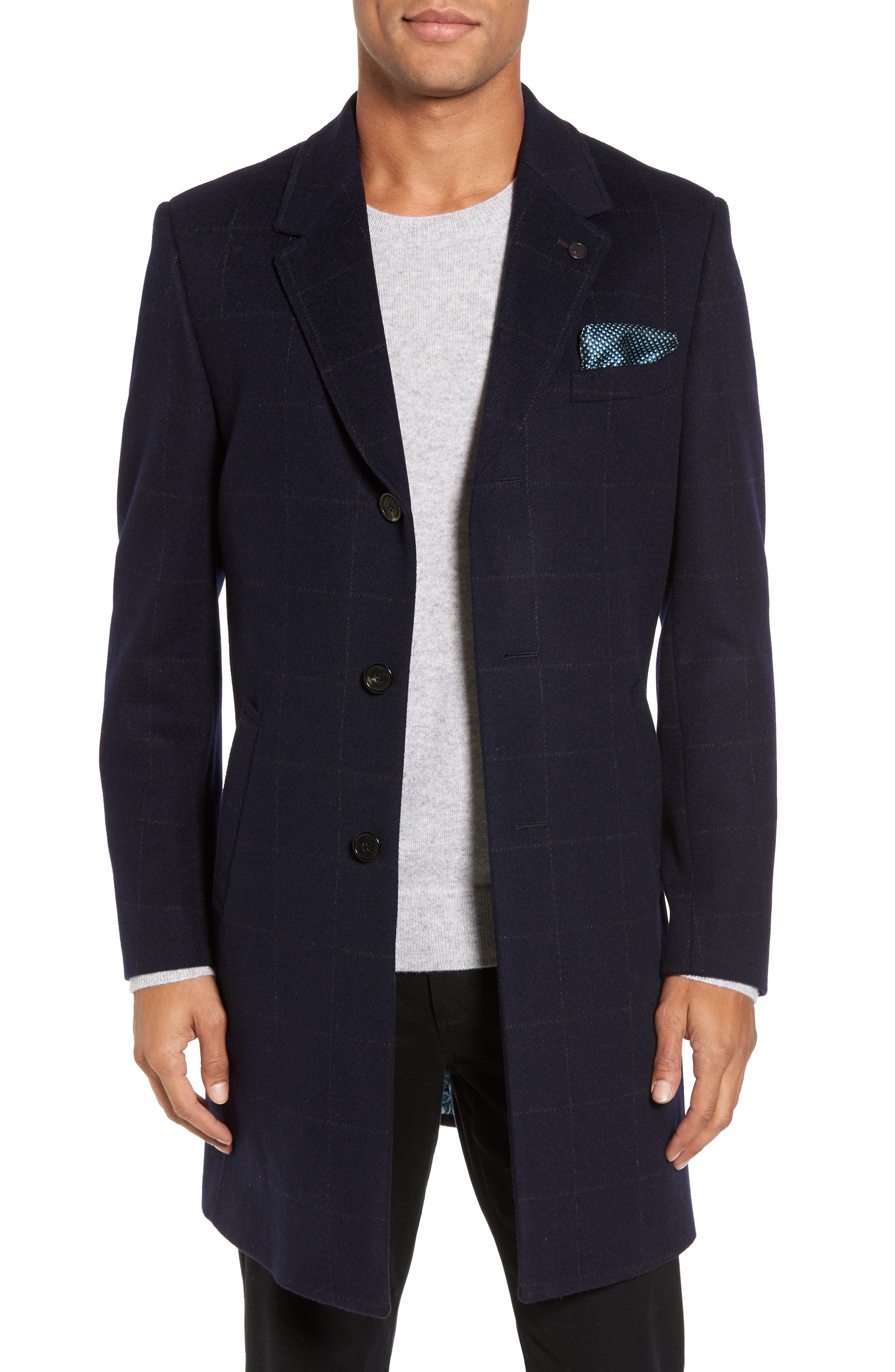 Endurance Wool Blend Overcoat,                             Main thumbnail 1, color,                             Navy