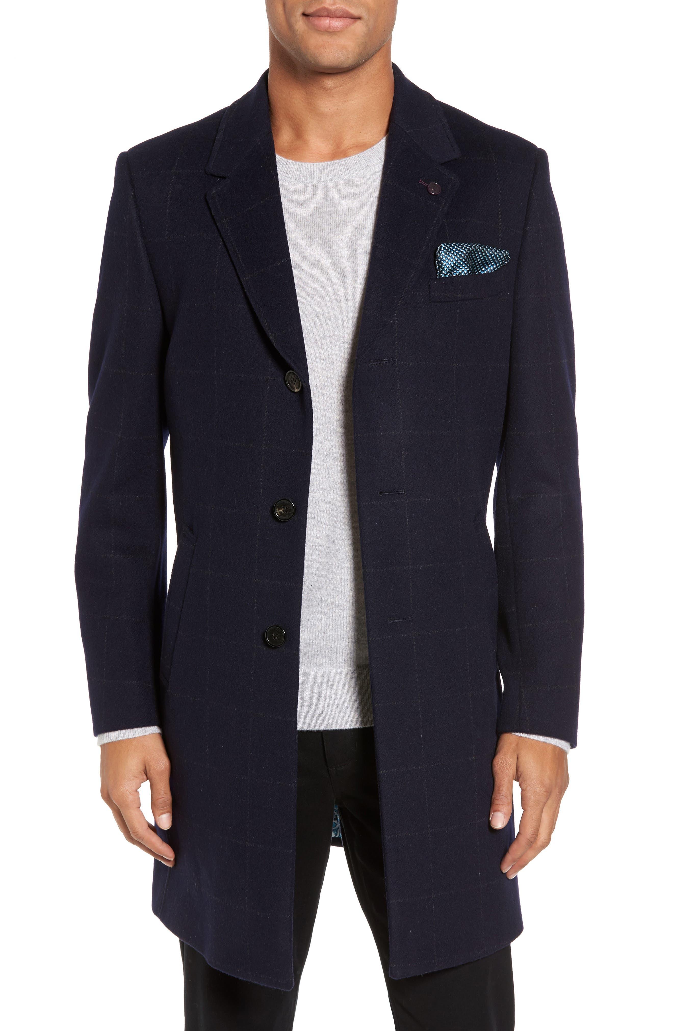 Endurance Wool Blend Overcoat,                         Main,                         color, Navy