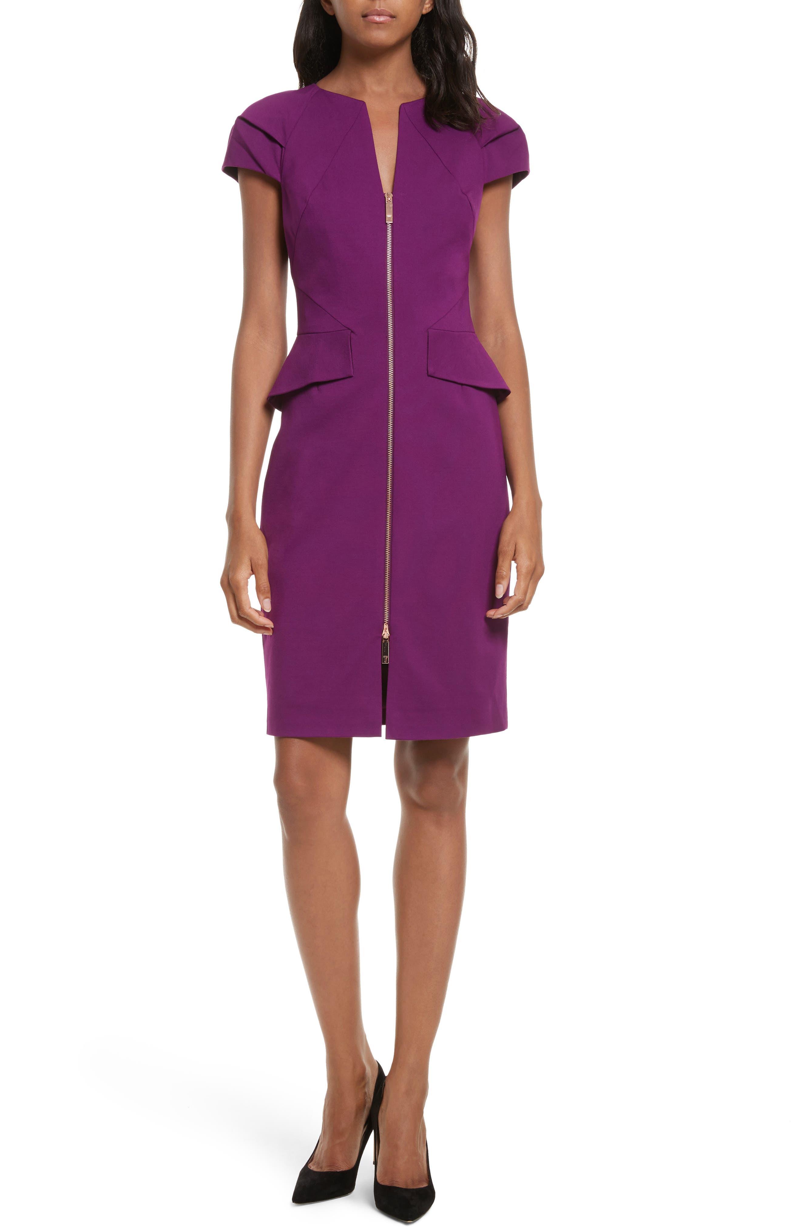 Fidelle Structured Peplum Dress,                         Main,                         color, Deep Purple