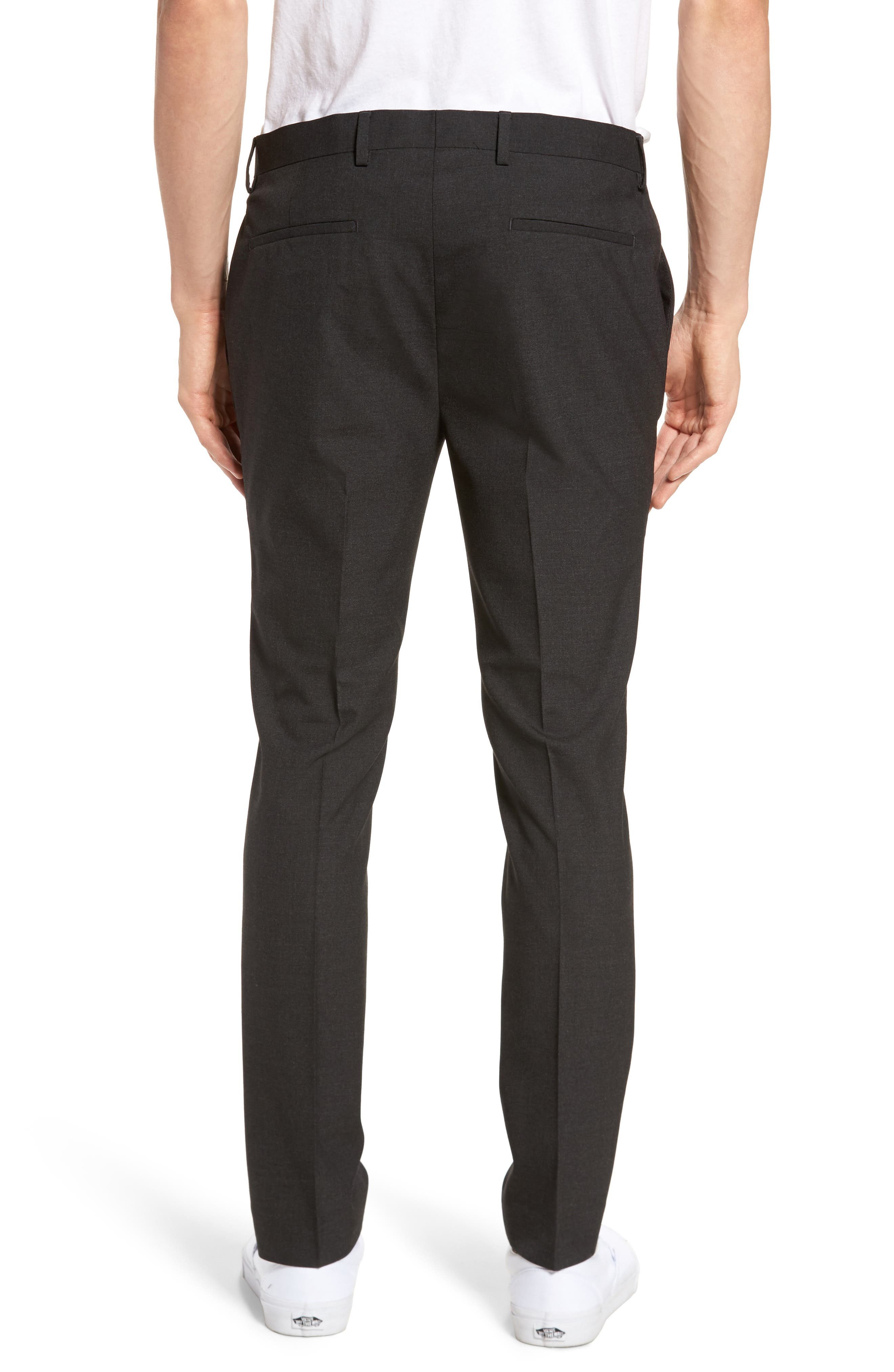 Black Skinny Fit Trousers,                             Alternate thumbnail 2, color,                             Charcoal